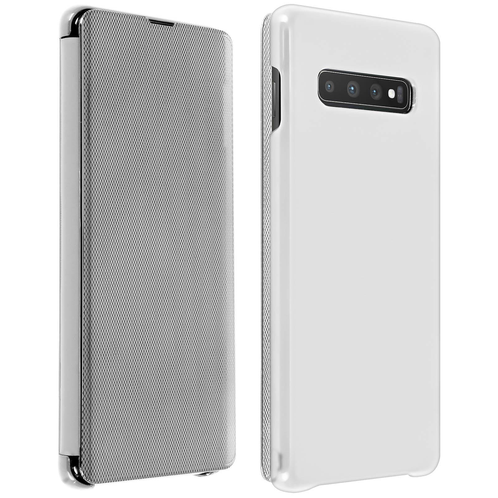 Avizar Etui folio Argent pour Samsung Galaxy S10 Plus