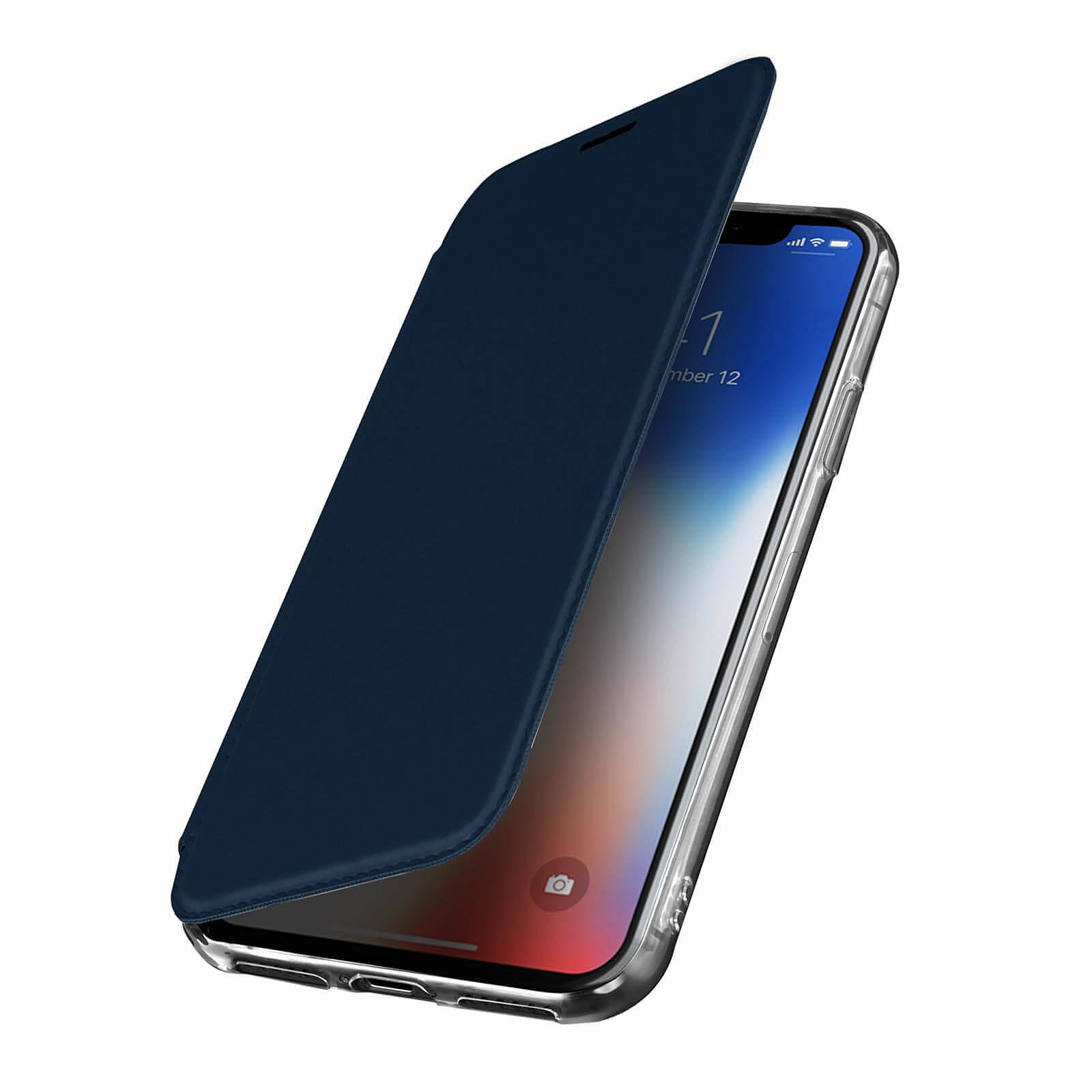 Avizar Etui folio Bleu Nuit Miroir pour Apple iPhone X , Apple iPhone XS