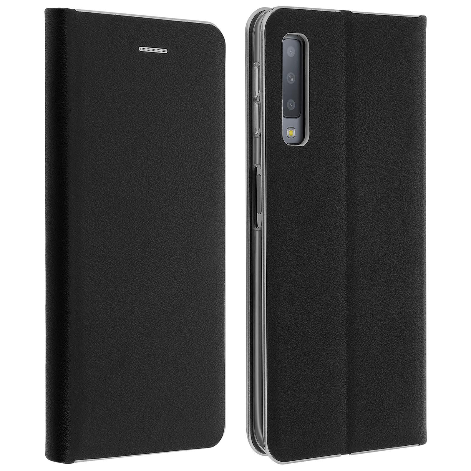 Avizar Etui folio Noir Portefeuille pour Samsung Galaxy A7 2018