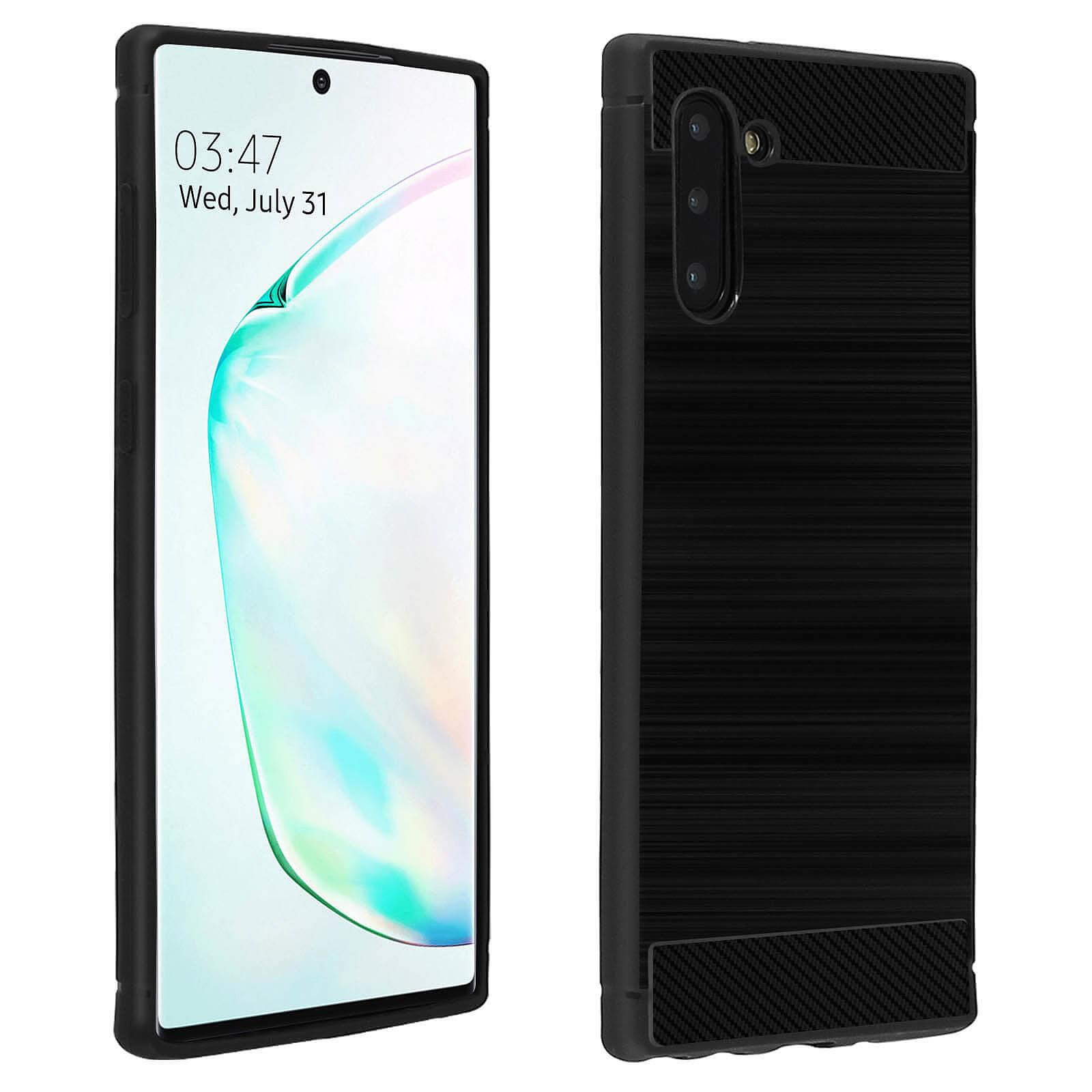 Avizar Coque Noir Carbone pour Samsung Galaxy Note 10