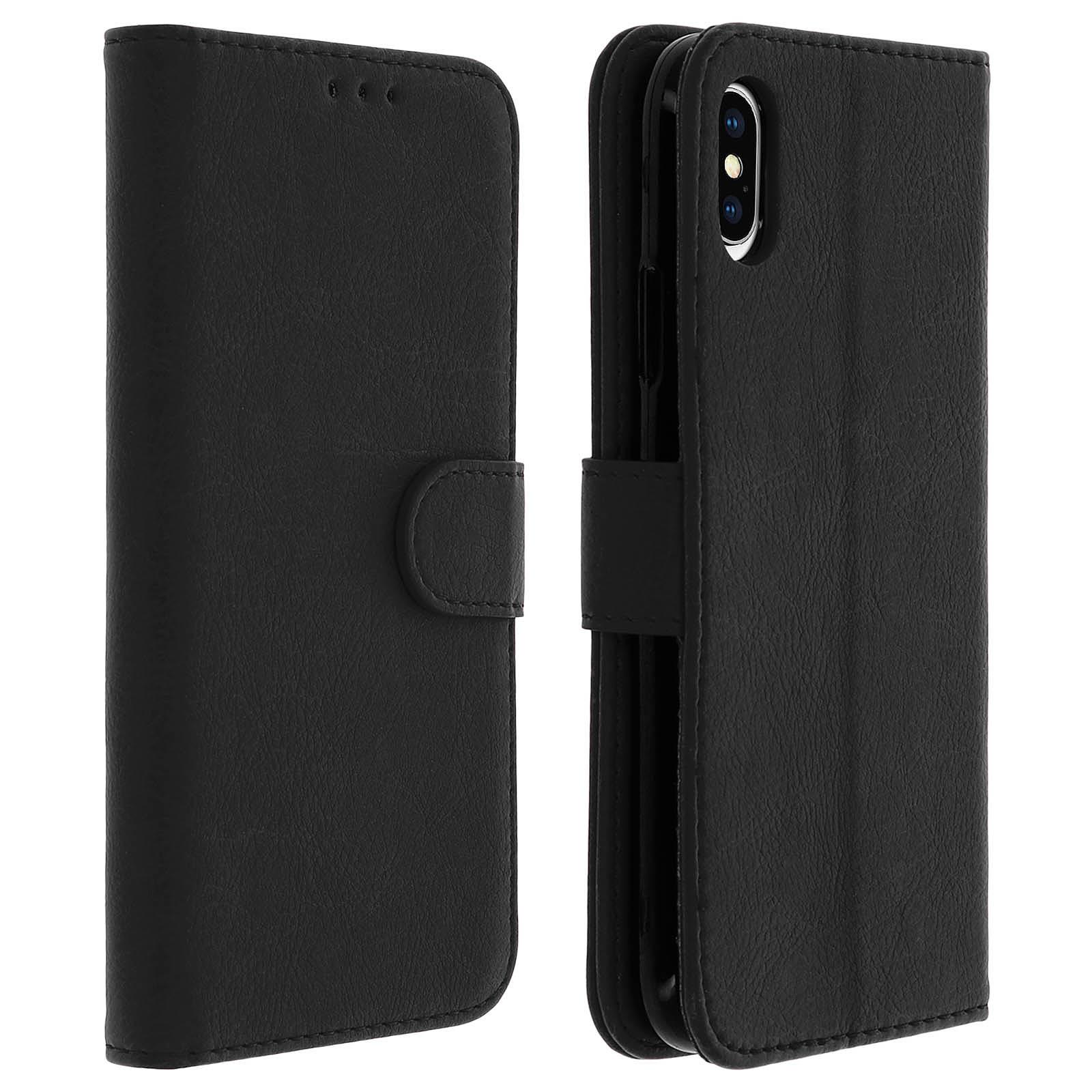 Avizar Etui folio Noir Portefeuille pour Apple iPhone XS Max