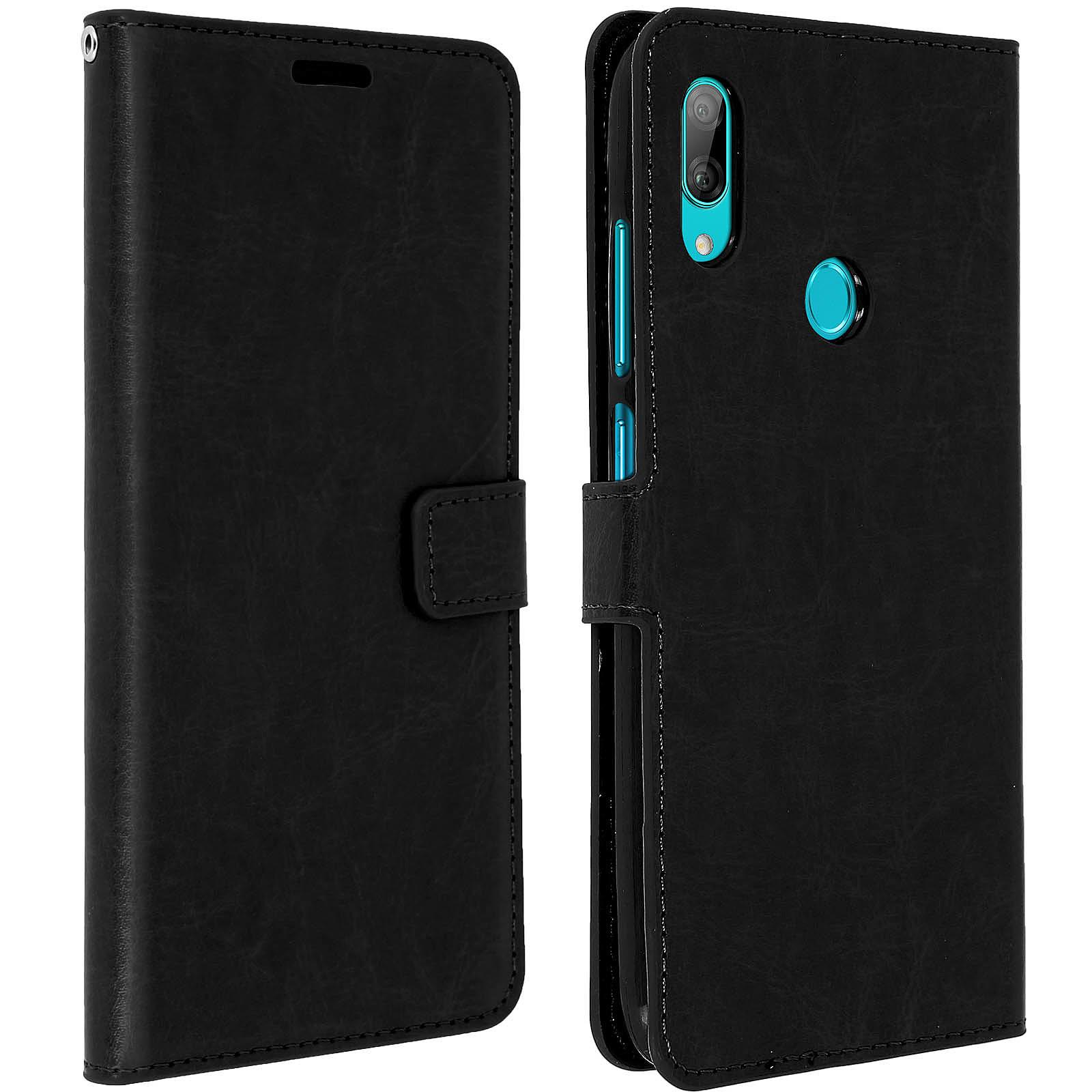 Avizar Etui folio Noir Éco-cuir pour Huawei Y7 2019