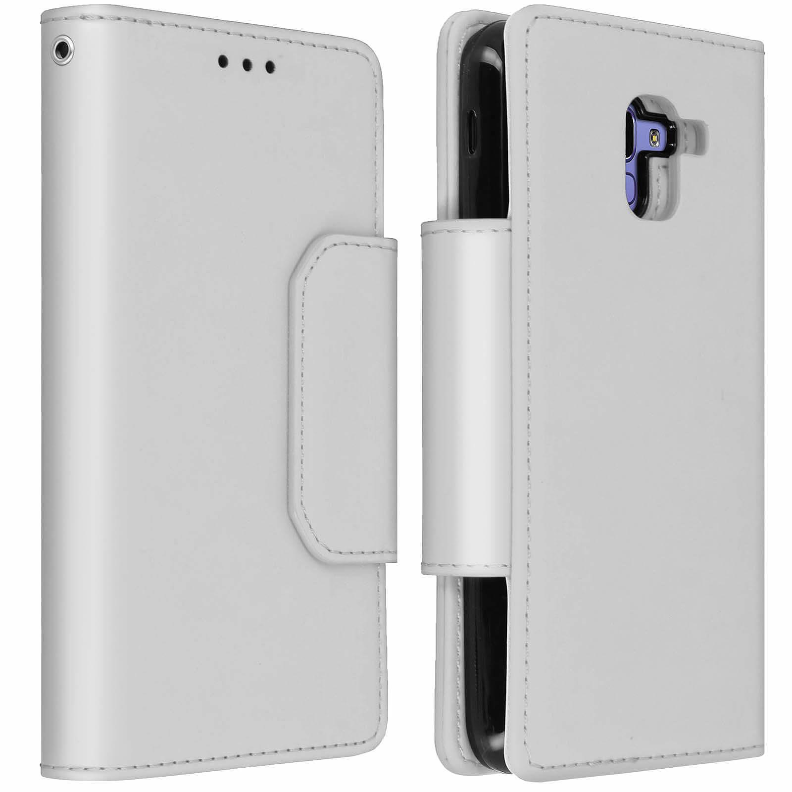 Avizar Etui folio Argent Porte-Carte pour Samsung Galaxy J6