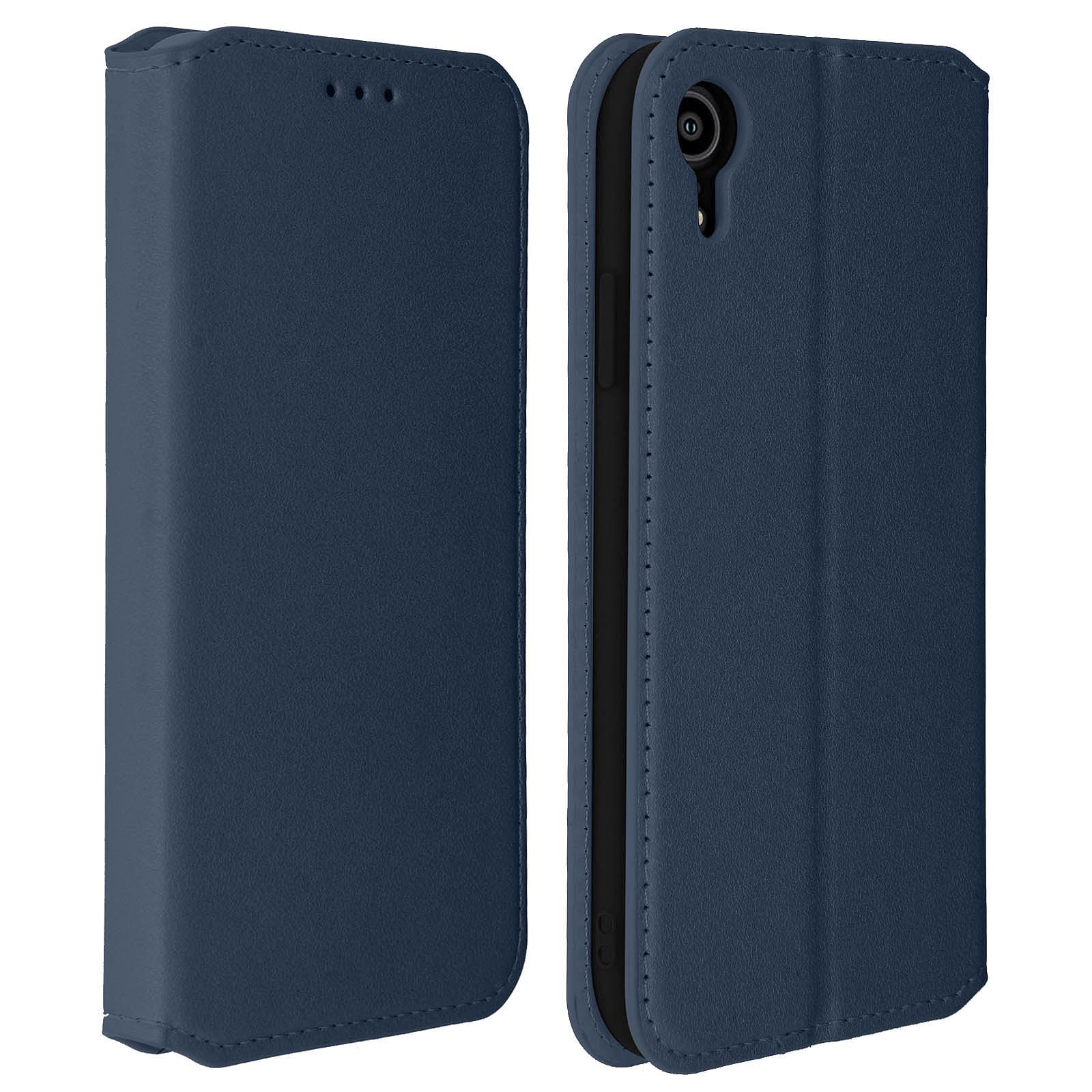 Avizar Etui folio Bleu Nuit Éco-cuir pour Apple iPhone XR