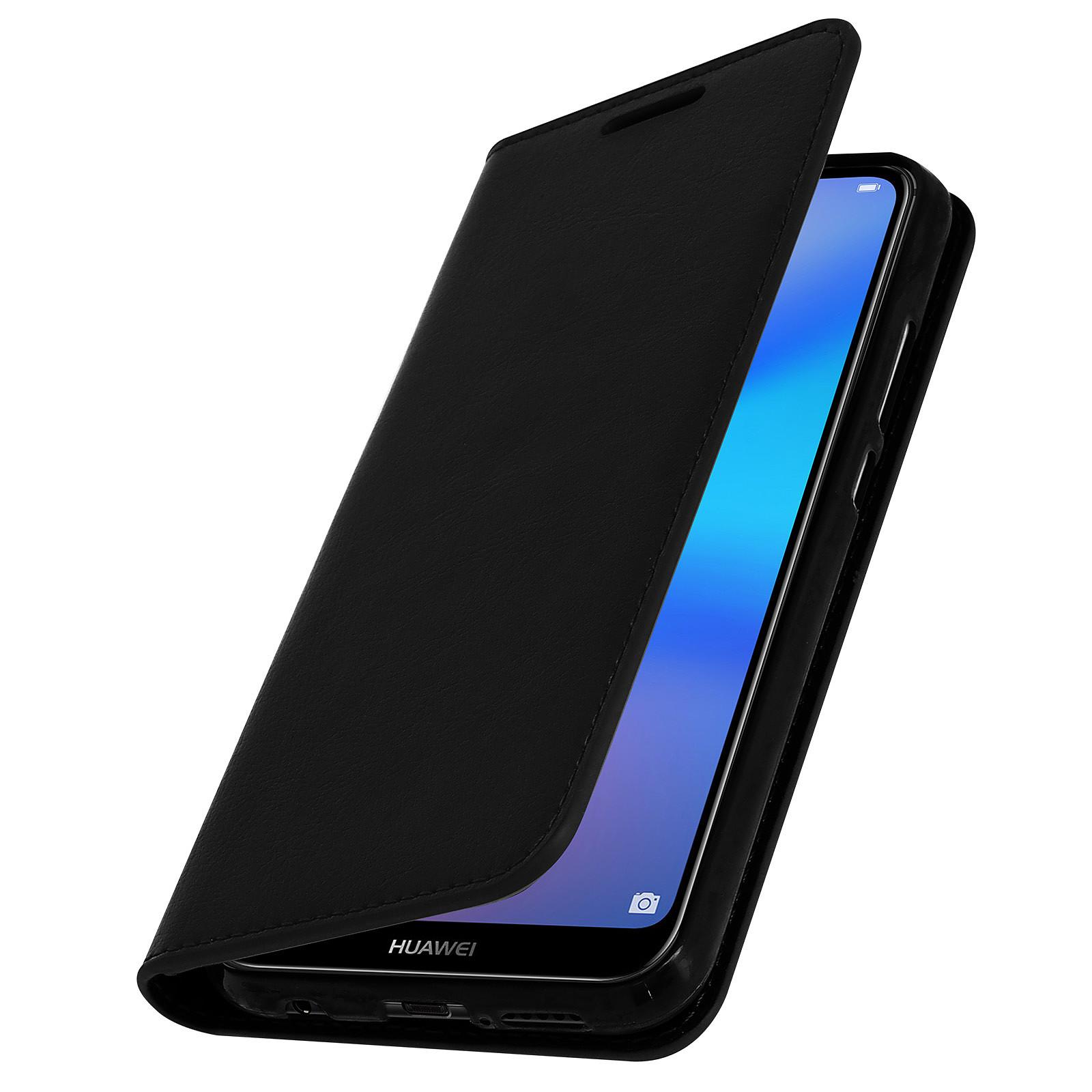 Avizar Etui folio Noir Cuir véritable pour Huawei P20 Lite