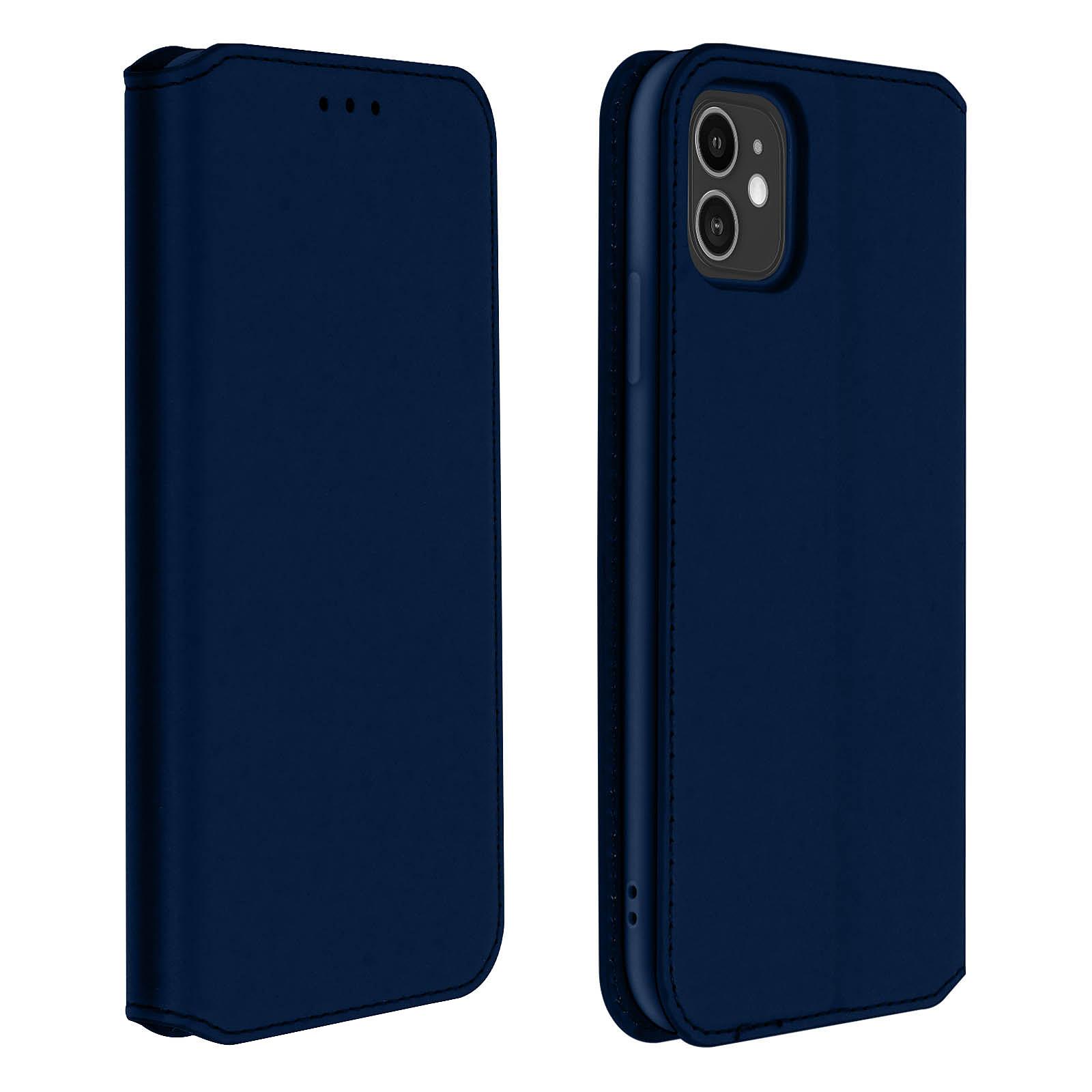 Avizar Etui folio Bleu Nuit Éco-cuir pour Apple iPhone 11