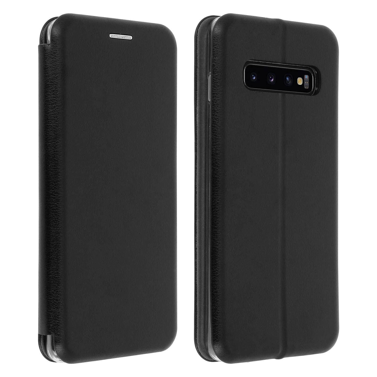 Avizar Etui folio Noir Stand Vidéo pour Samsung Galaxy S10