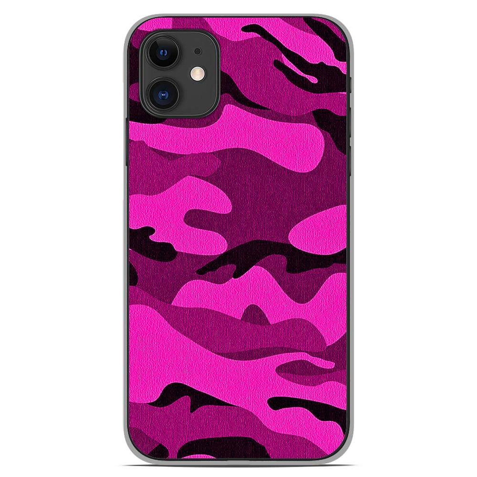 1001 Coques Coque silicone gel Apple iPhone 11 motif Camouflage rose