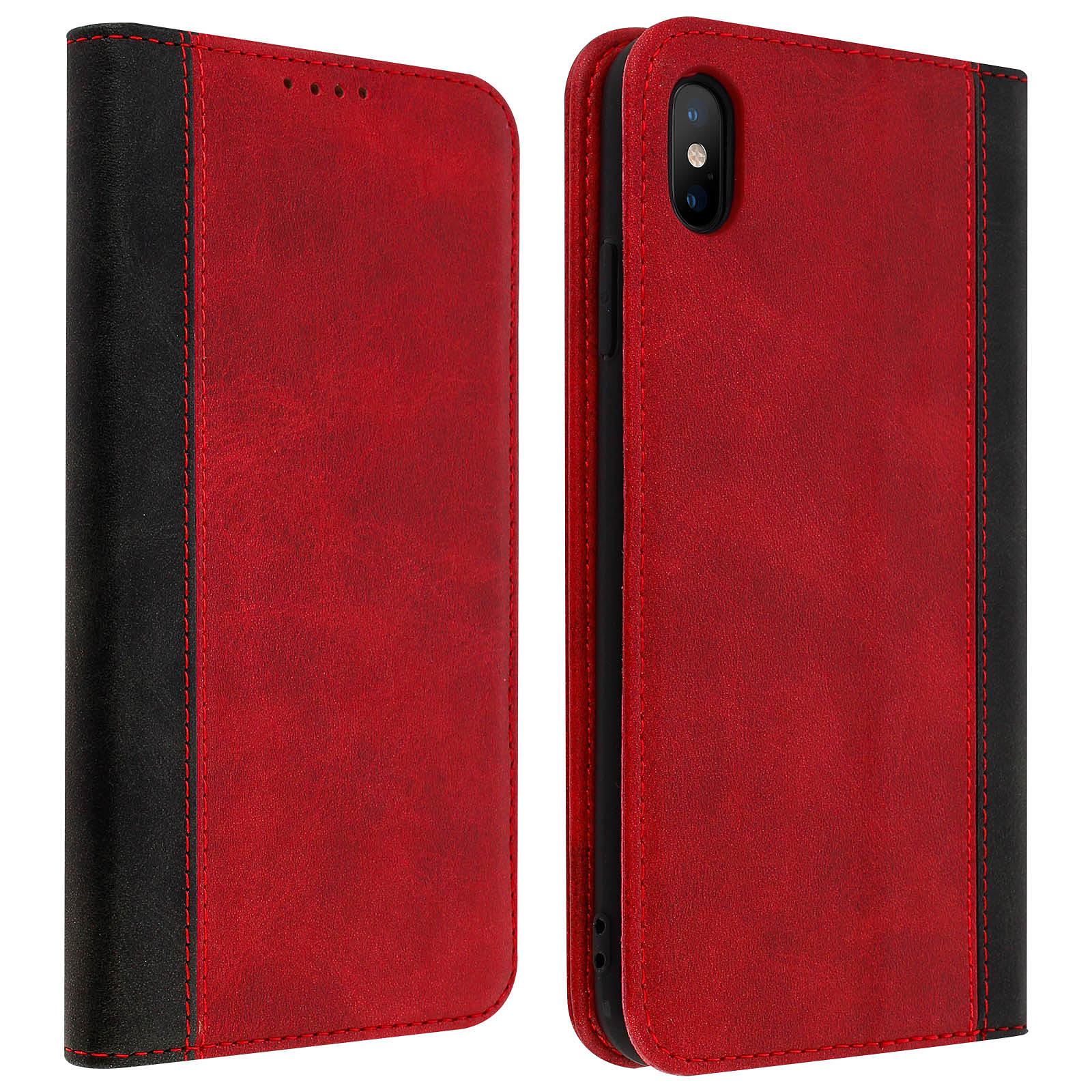 Avizar Etui folio Rouge Éco-cuir pour Apple iPhone XS Max