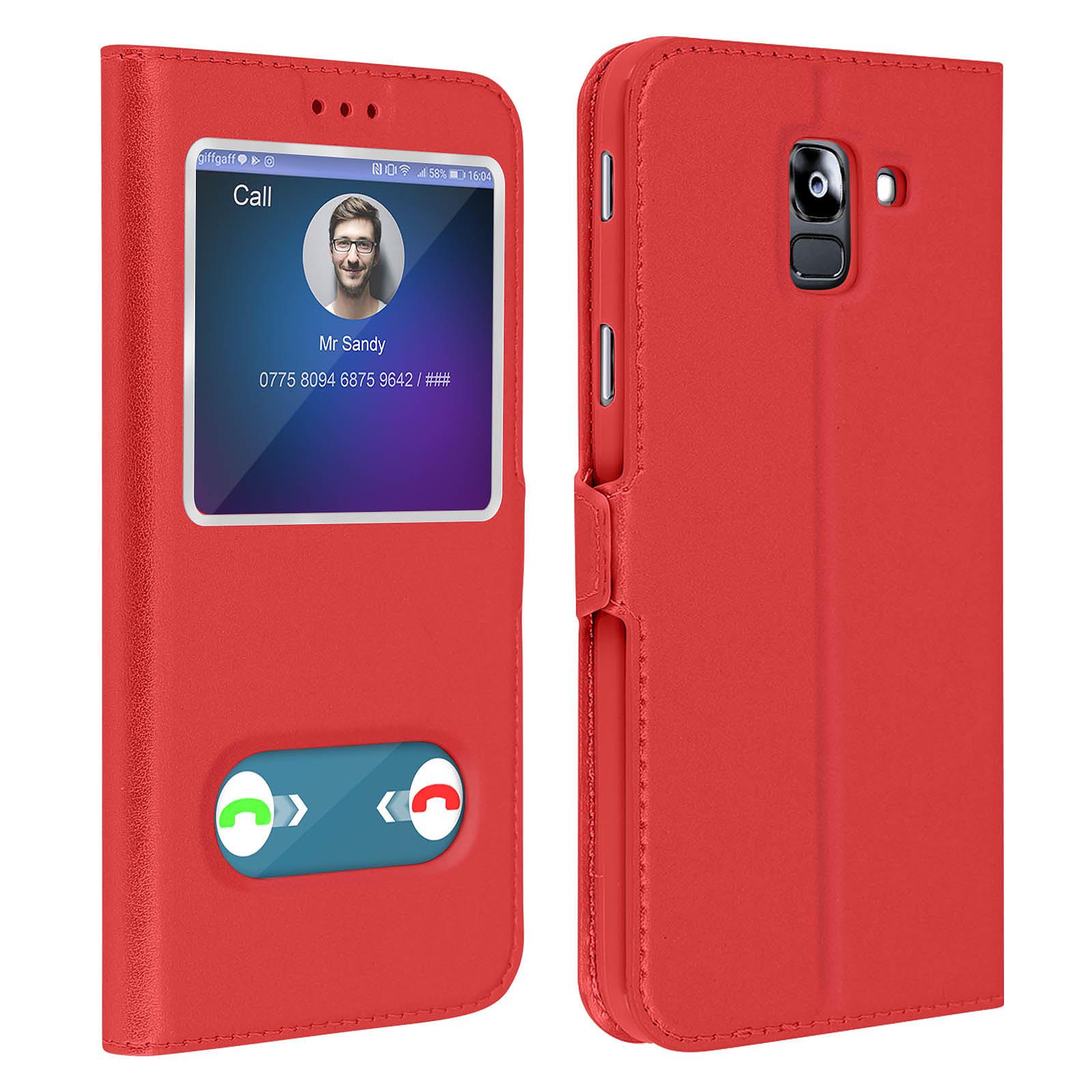 Avizar Etui folio Rouge Support Vidéo pour Samsung Galaxy J6