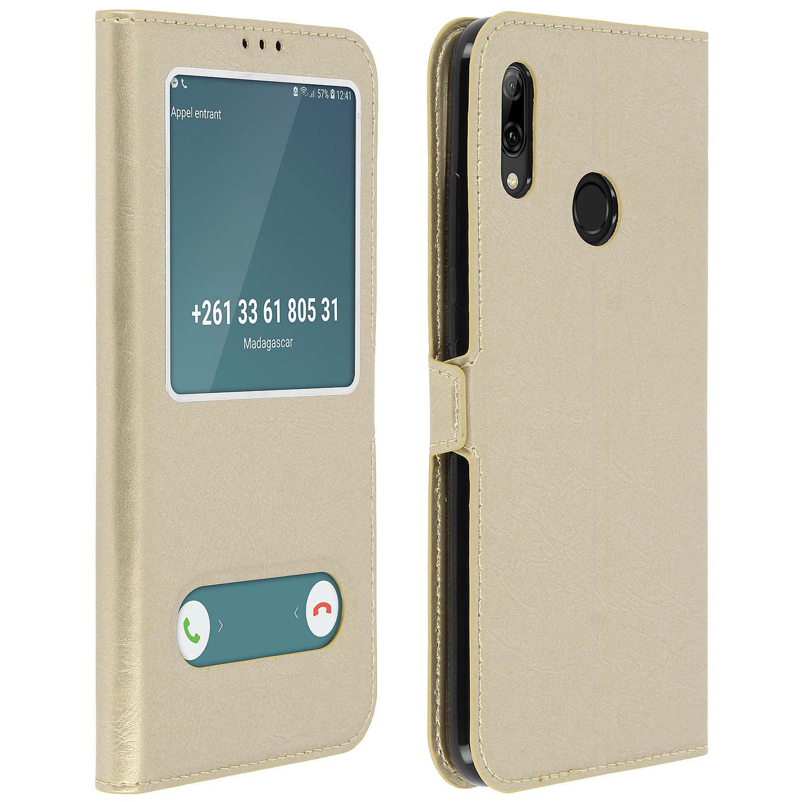 Avizar Etui folio Dorée à fenêtre pour Huawei P Smart 2019 , Honor 10 Lite