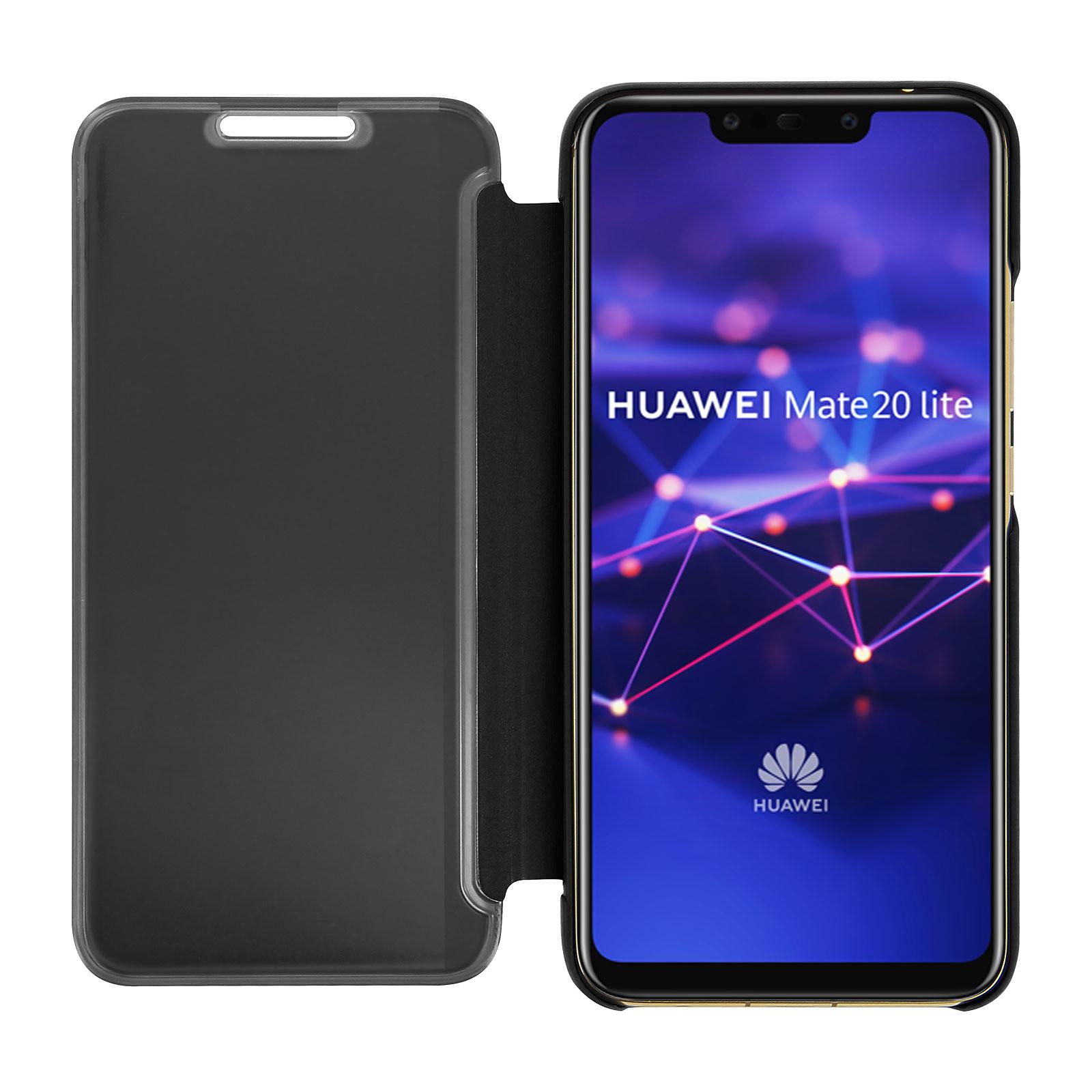 Avizar Etui folio Noir Design Miroir pour Huawei Mate 20 Lite