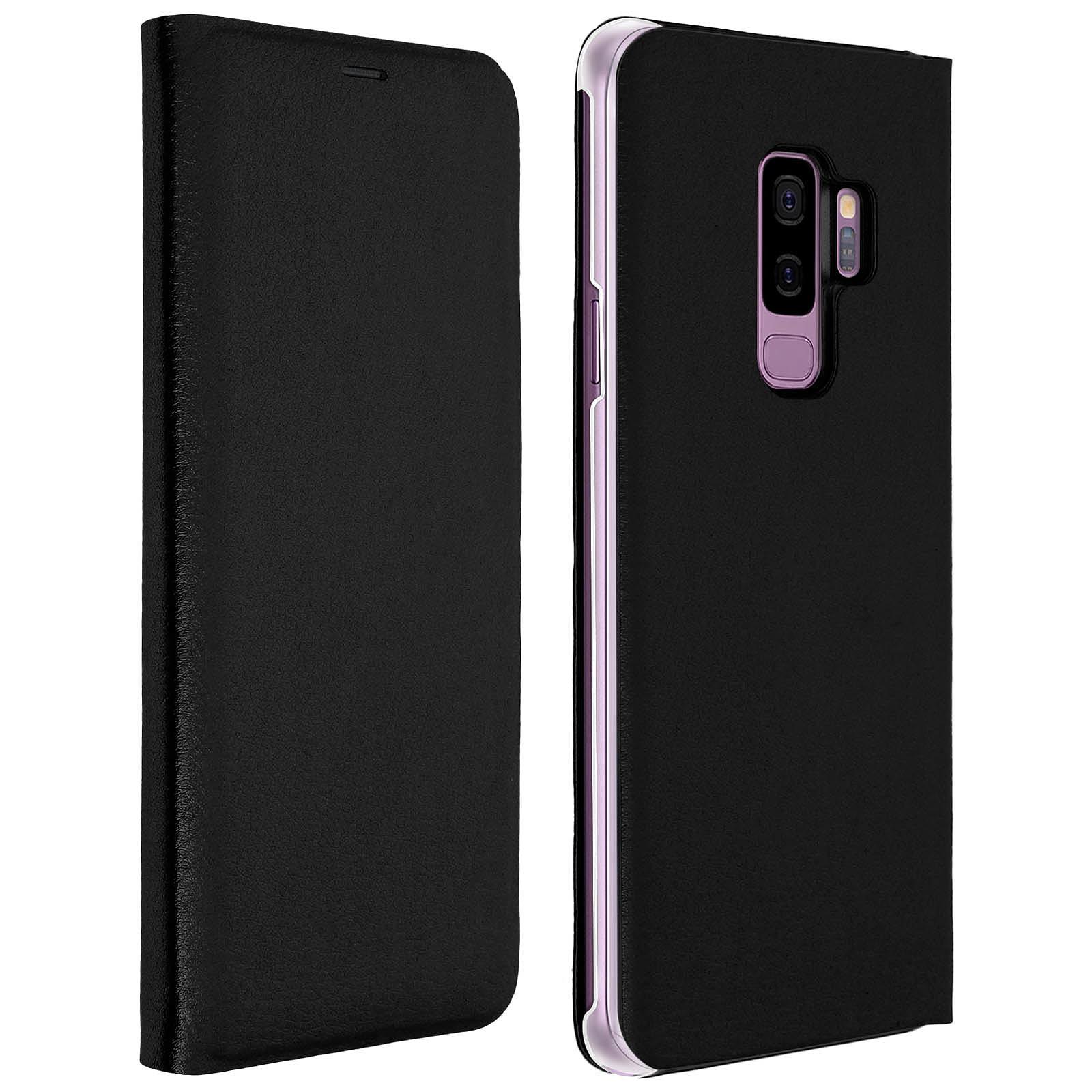 Avizar Etui folio Noir Éco-cuir pour Samsung Galaxy S9 Plus