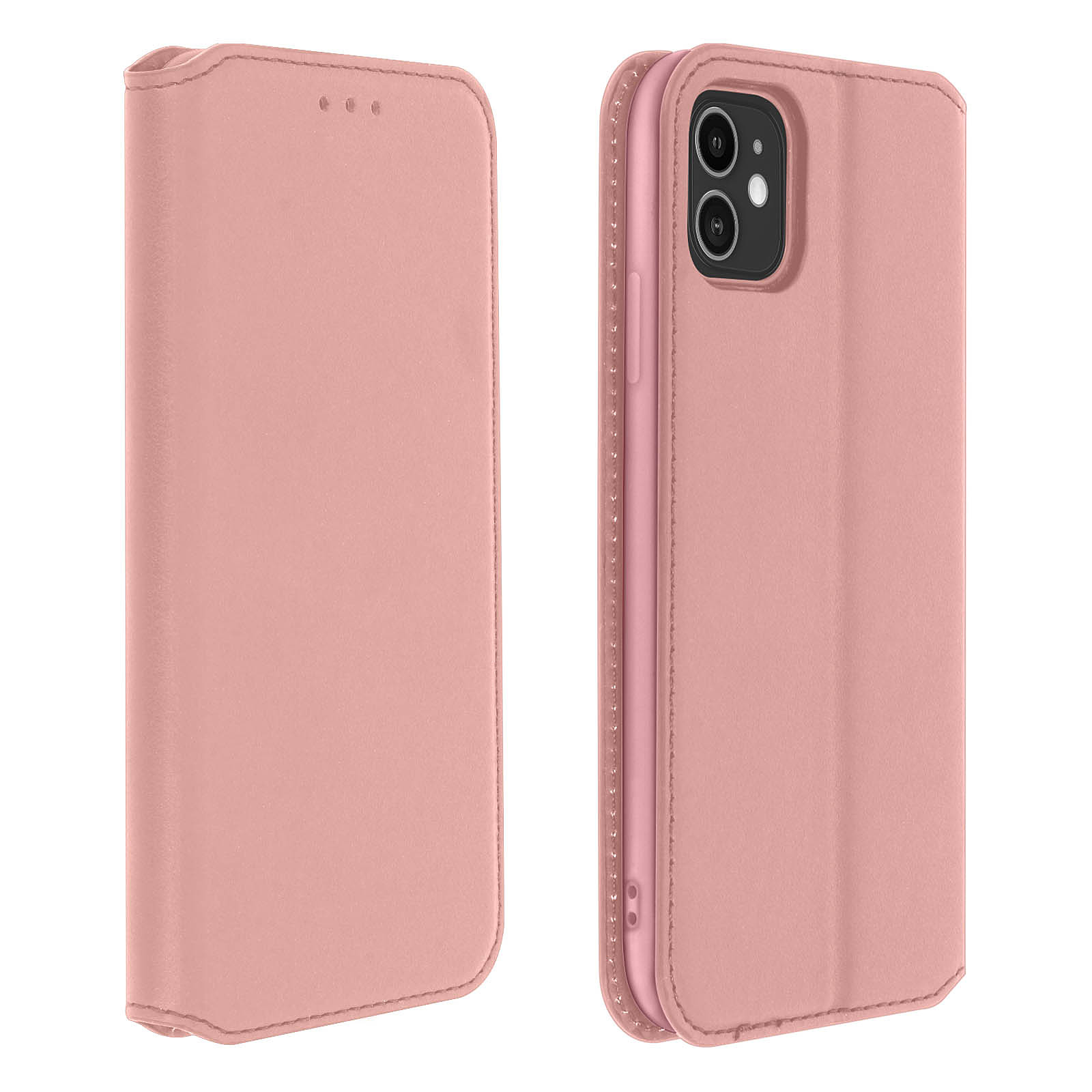 Avizar Etui folio Rose Champagne Éco-cuir pour Apple iPhone 11