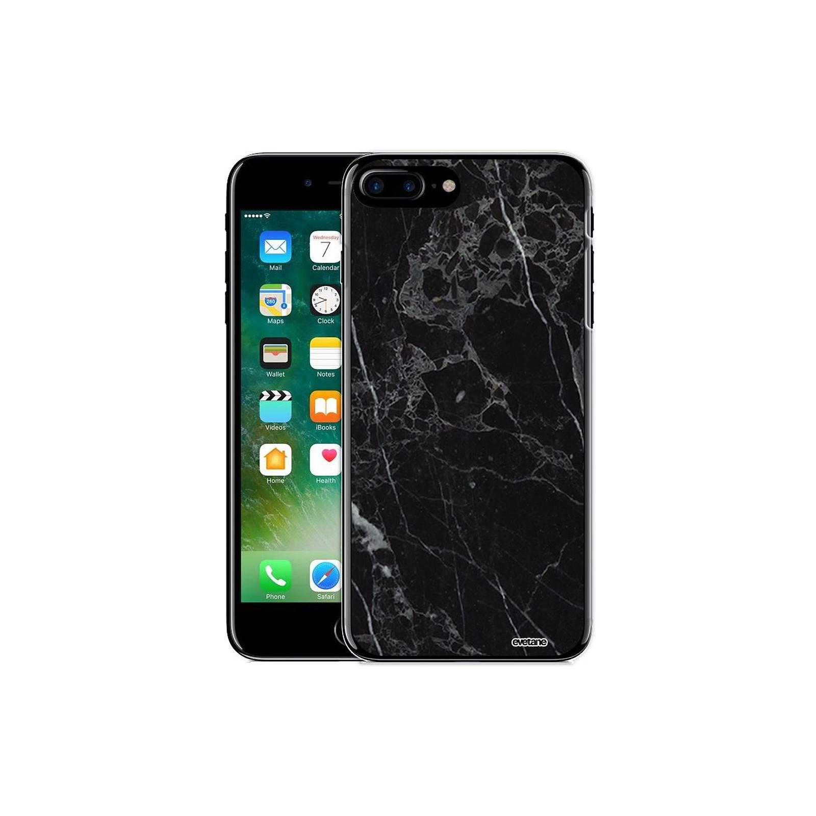 EVETANE Coque iPhone 7 Plus / 8 Plus rigide transparente Marbre noir Dessin