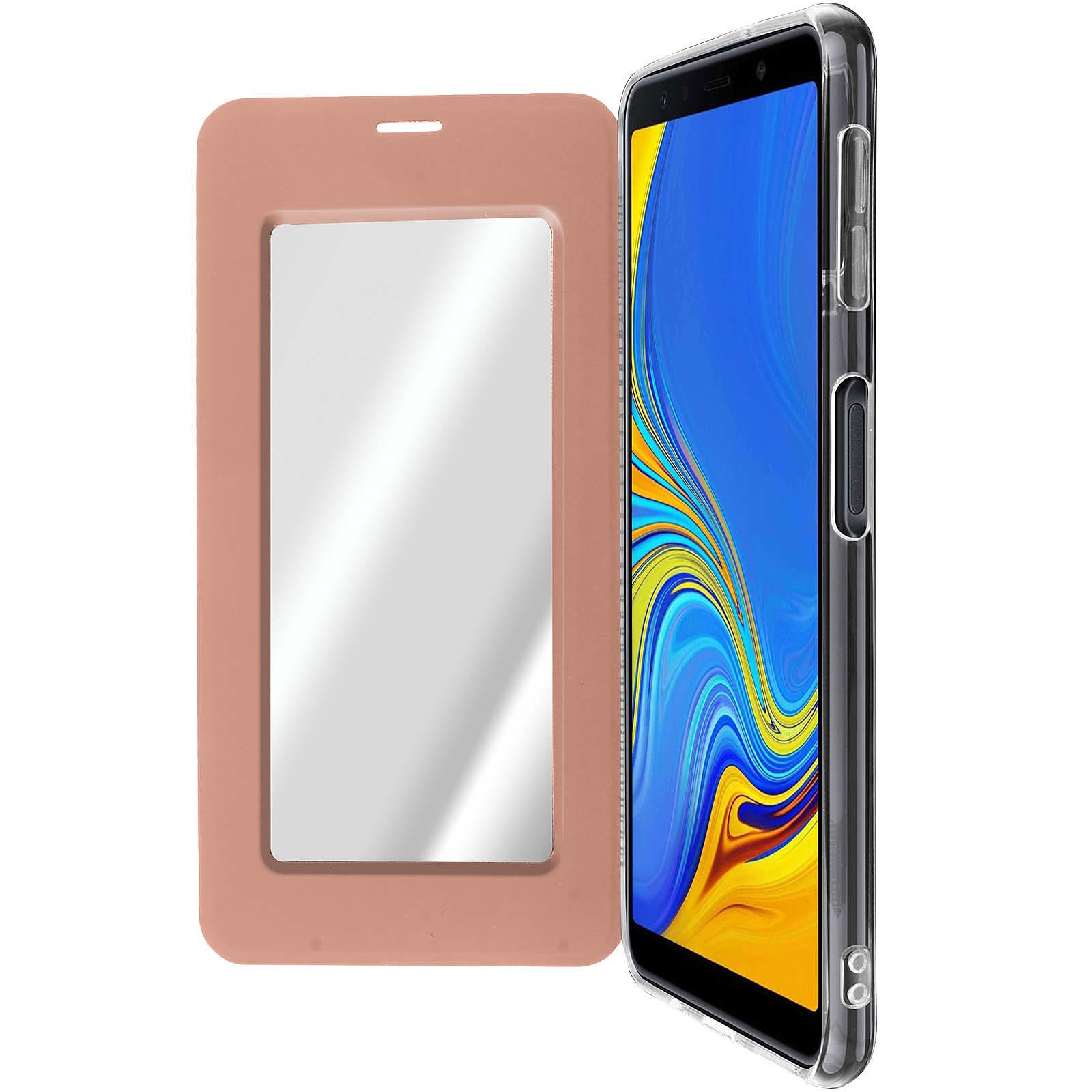 Avizar Etui folio Rose Champagne Miroir pour Samsung Galaxy A7 2018