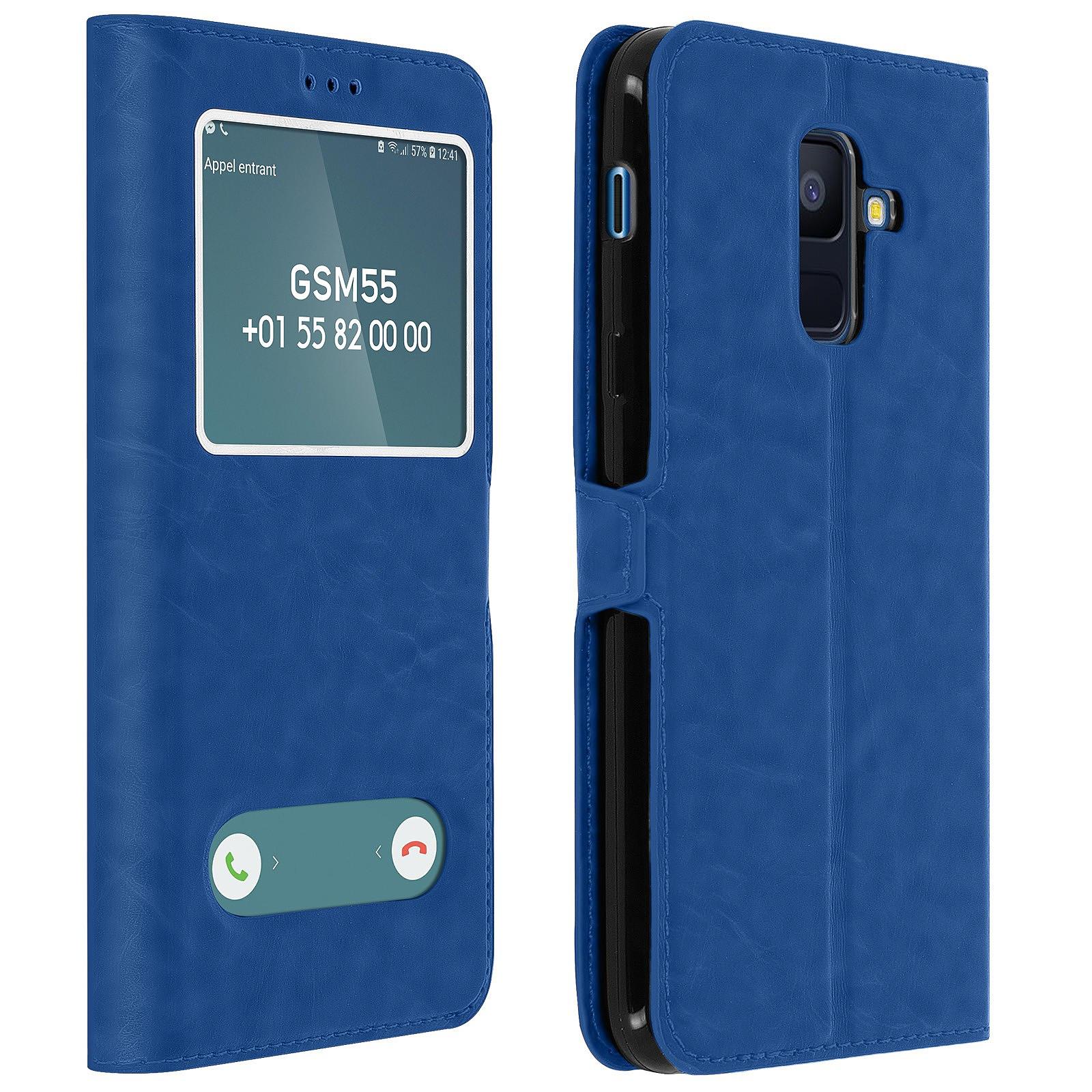 Avizar Etui folio Bleu Éco-cuir pour Samsung Galaxy A6 Plus
