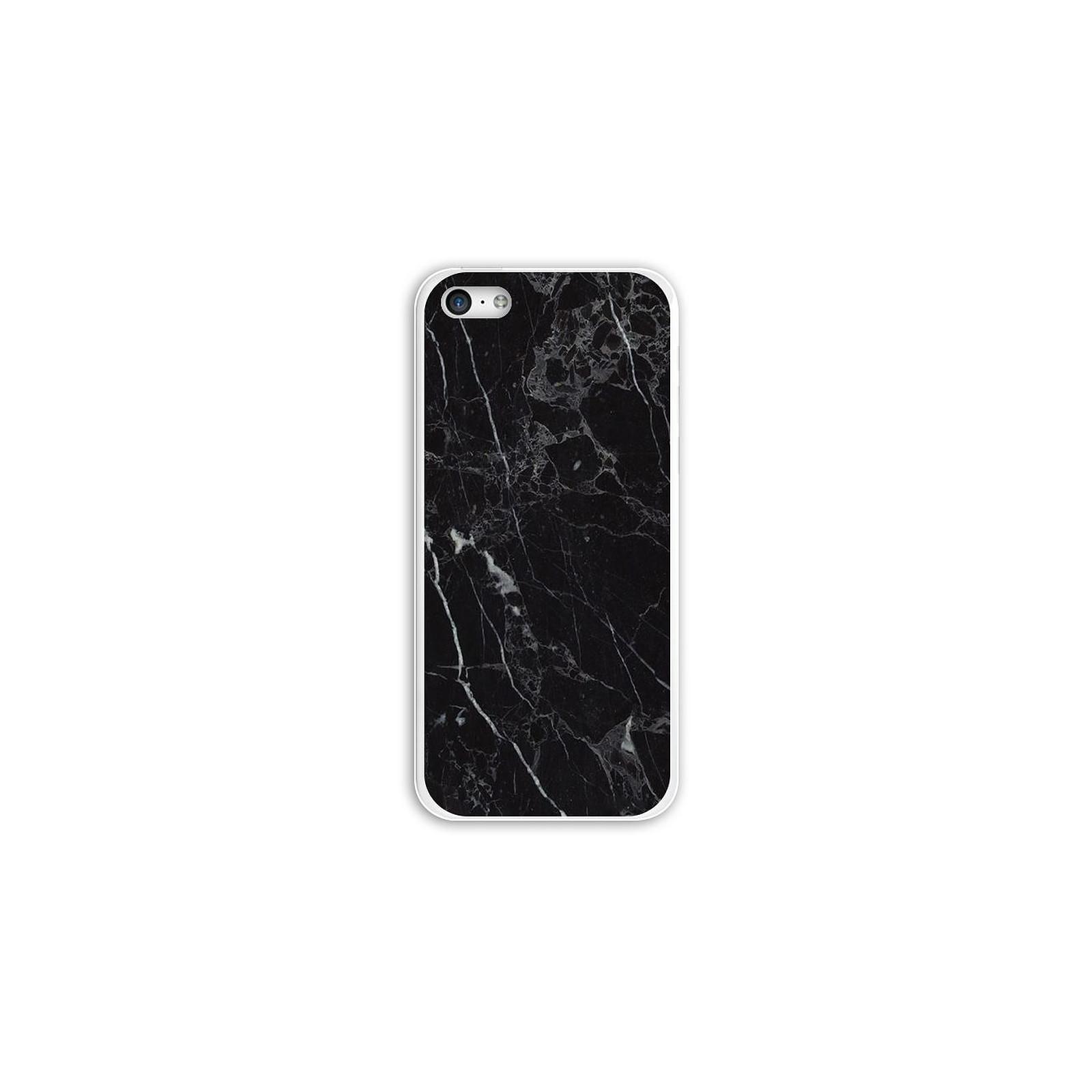 EVETANE Coque iPhone 5C rigide transparente Marbre noir Dessin