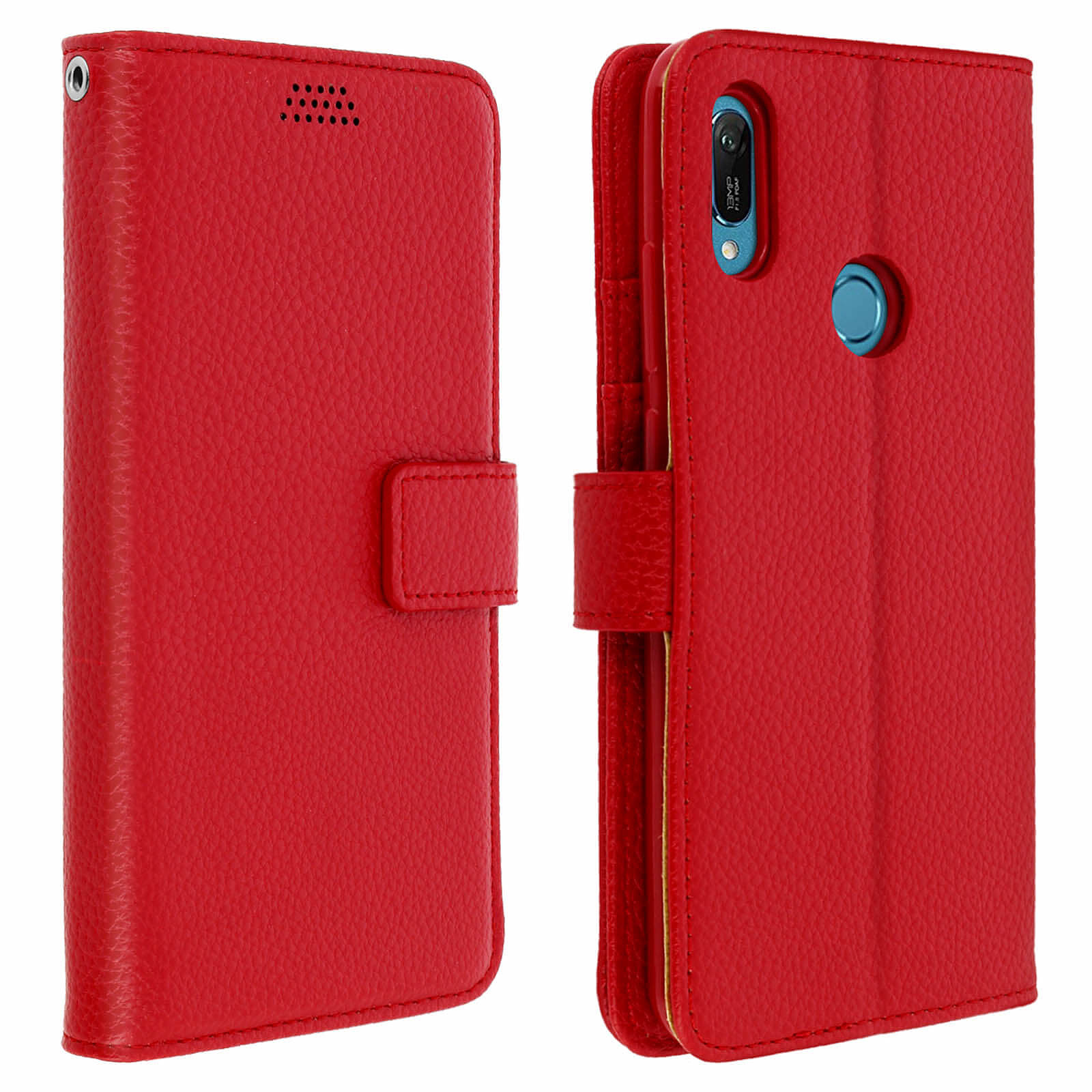 Avizar Etui folio Rouge pour Honor 8A , Huawei Y6 2019 , Huawei Y6S