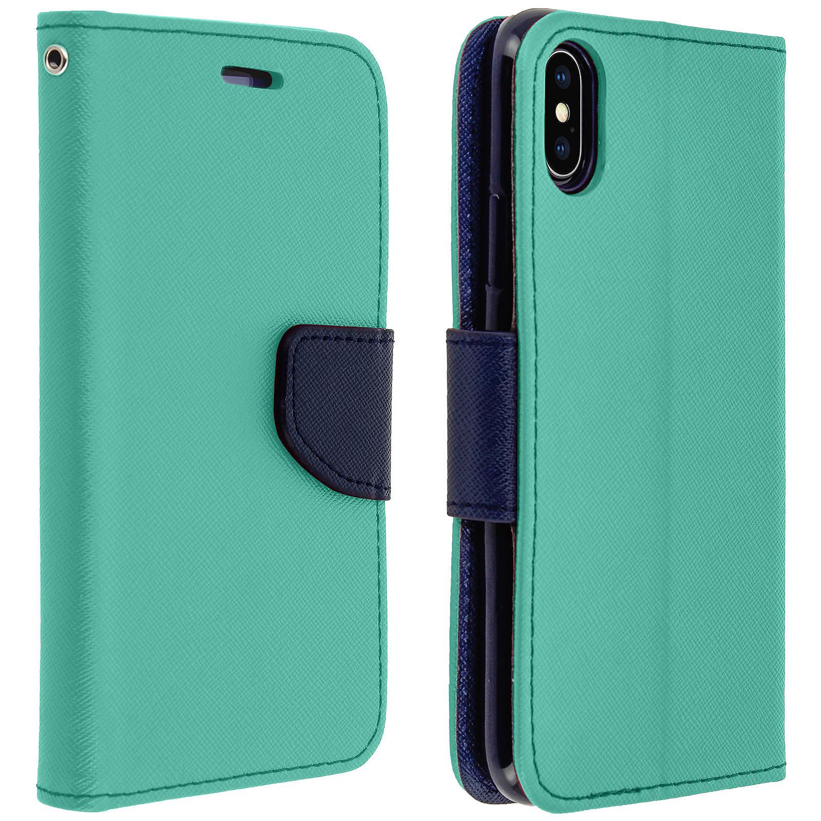 Avizar Etui folio Turquoise pour Apple iPhone X , Apple iPhone XS