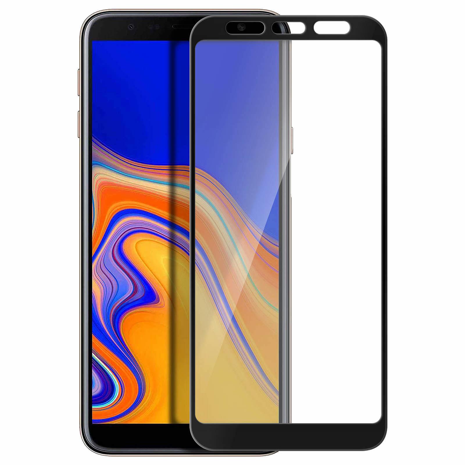 Avizar Film verre trempé Noir pour Samsung Galaxy J4 Plus