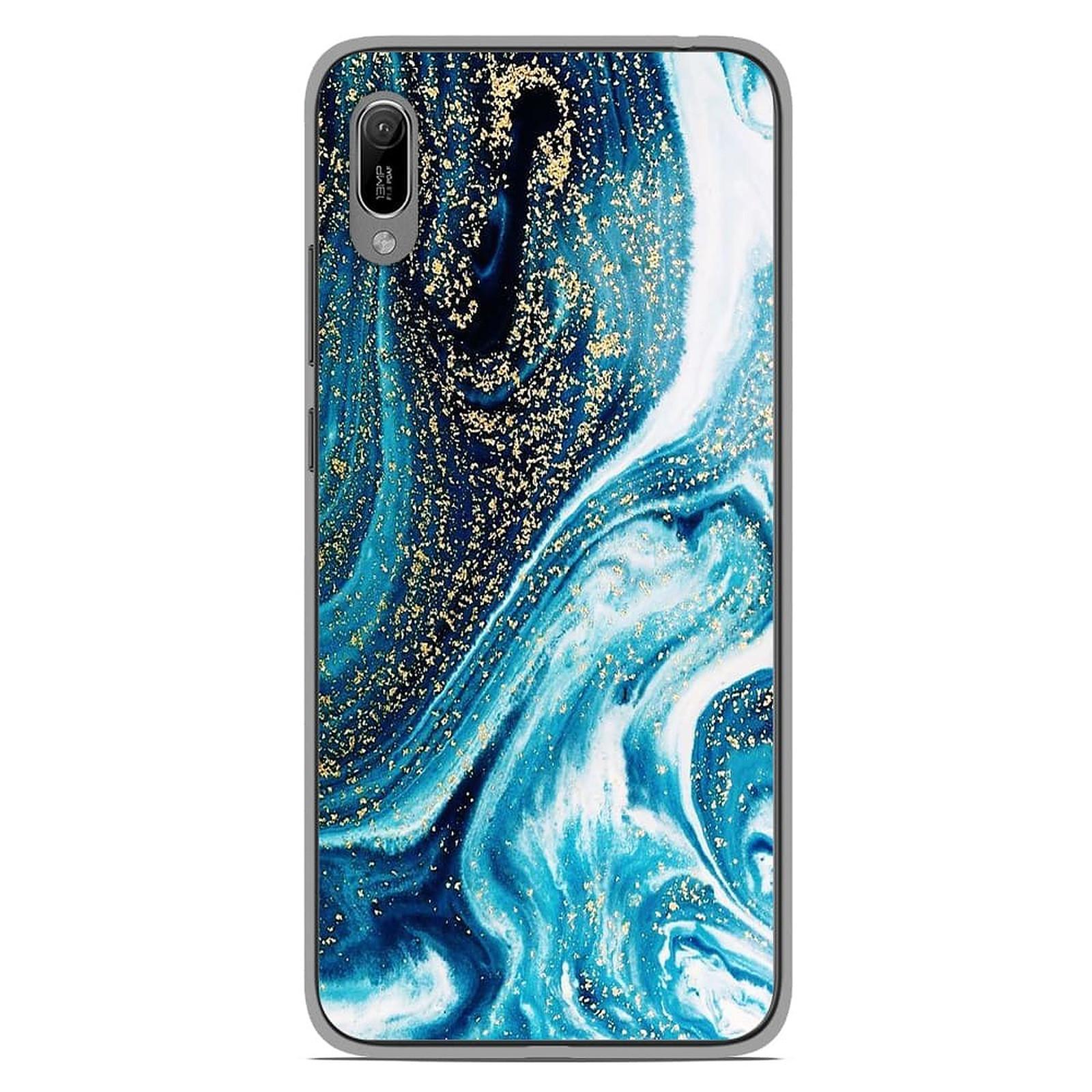 1001 Coques Coque silicone gel Huawei Y6 2019 motif Marbre Bleu Pailleté