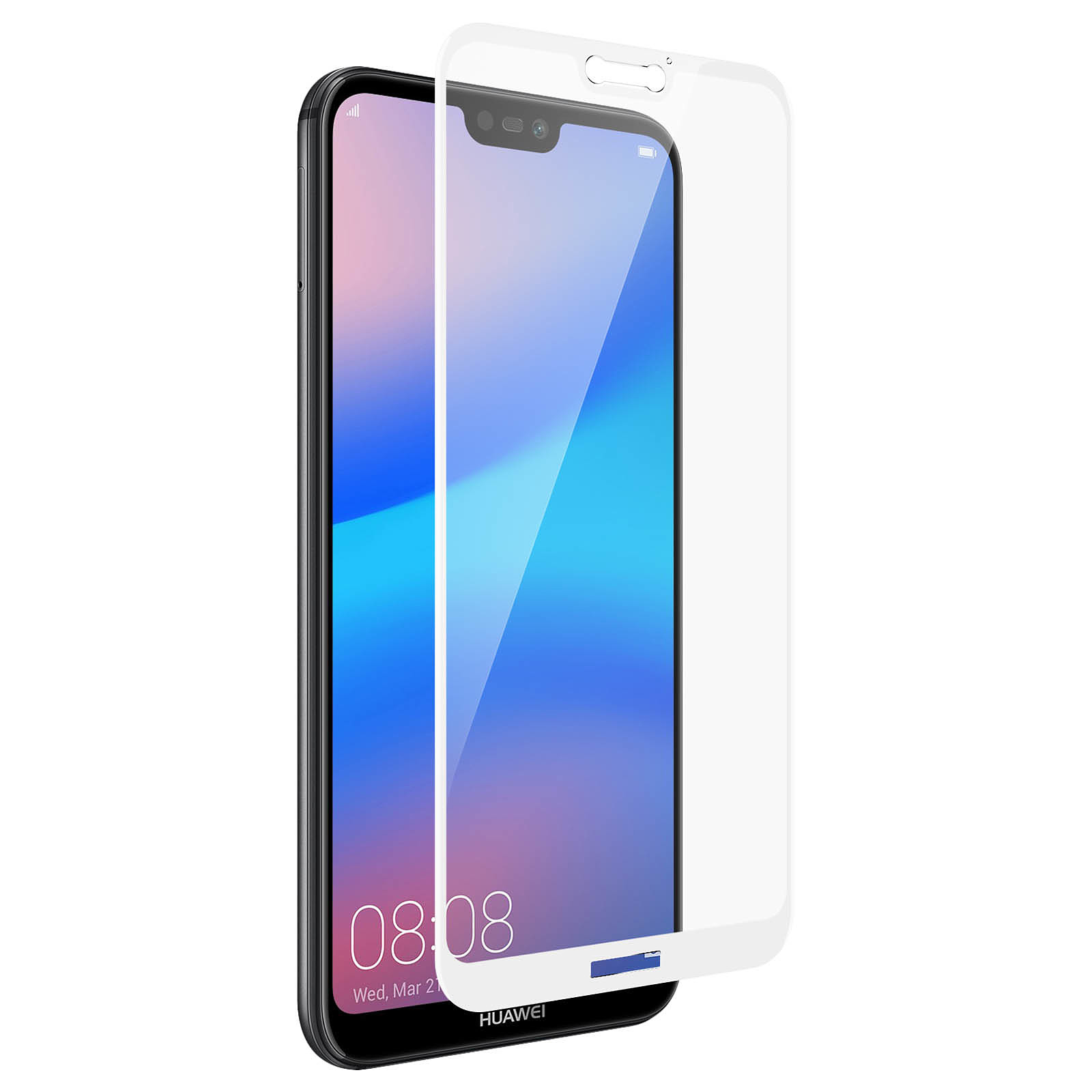 Avizar Film verre trempé Blanc pour Huawei P20 Lite