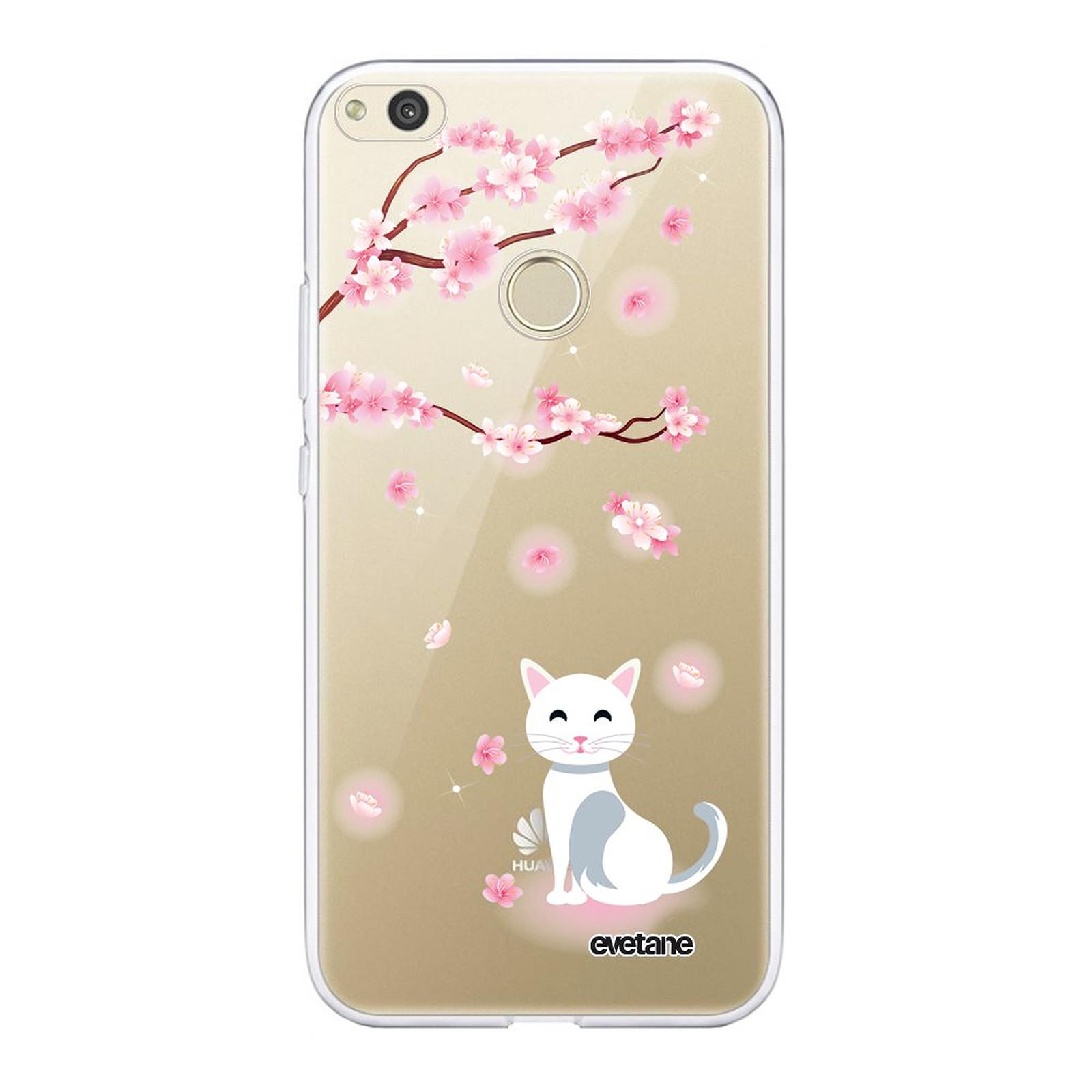EVETANE Coque Huawei P8 lite 2017 souple transparente Chat et Fleurs - Coque téléphone Evetane sur LDLC