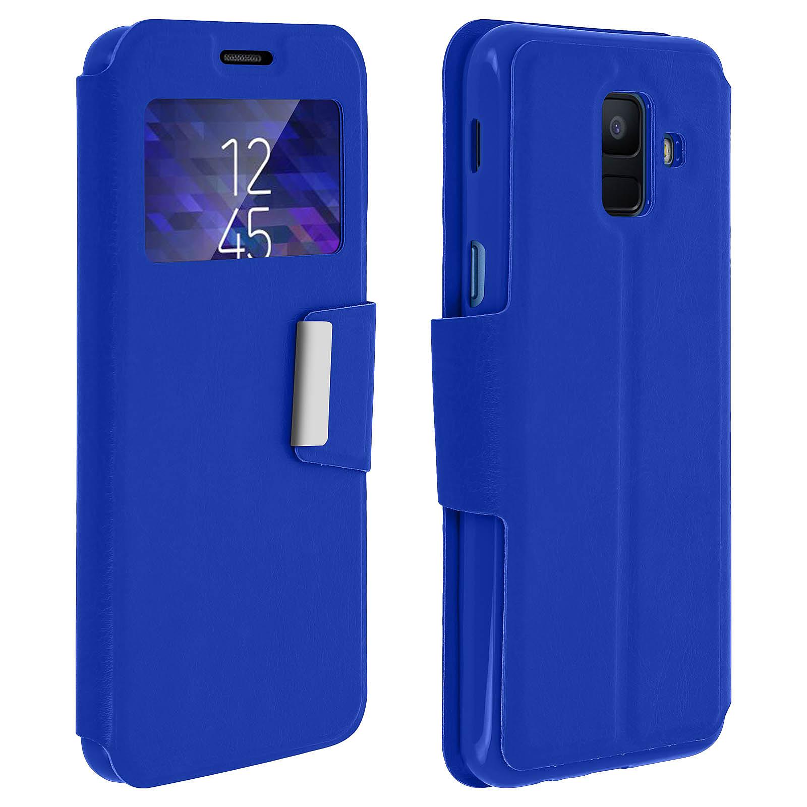 Avizar Etui folio Bleu à fenêtre pour Samsung Galaxy A6