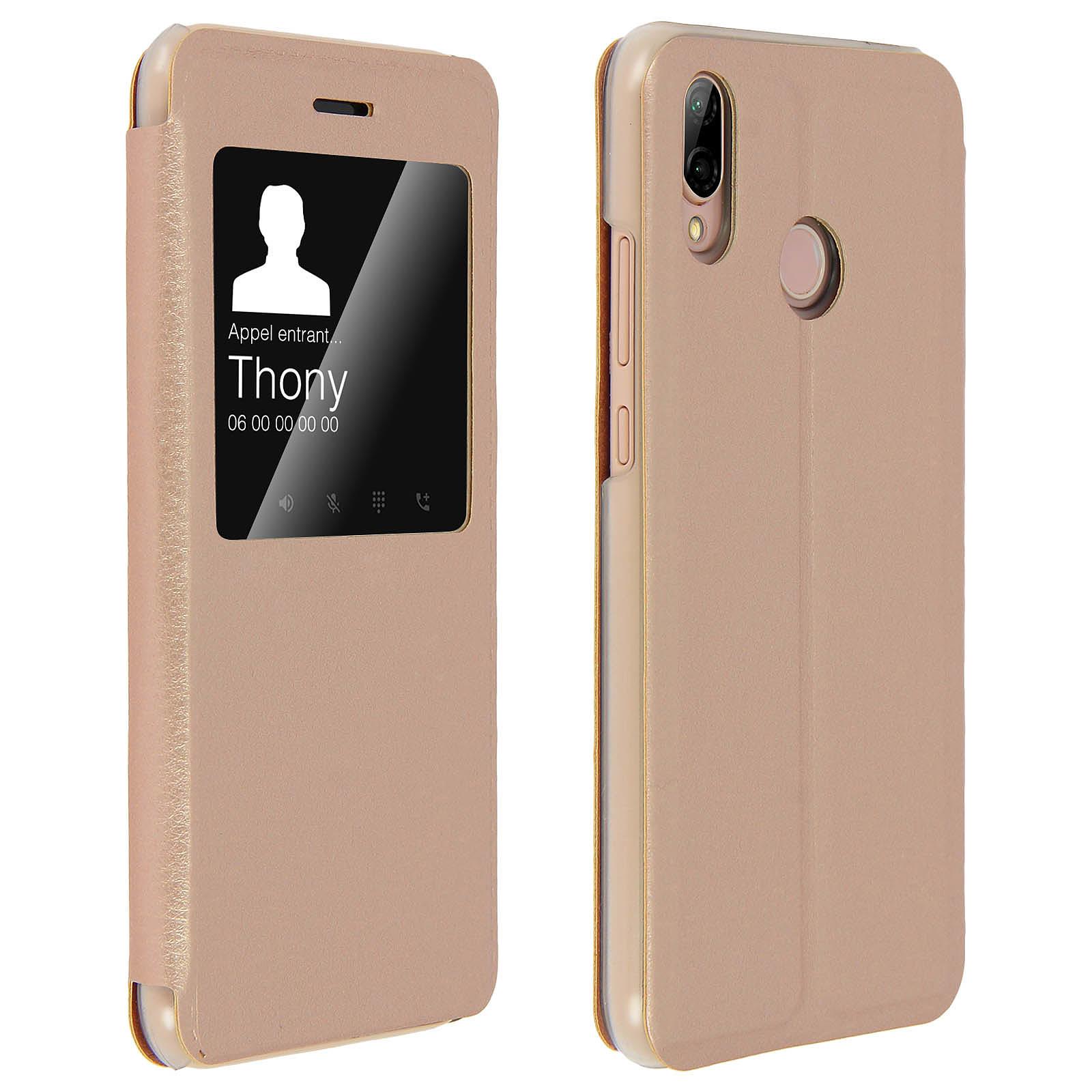 Avizar Etui folio Dorée pour Huawei P20 Lite