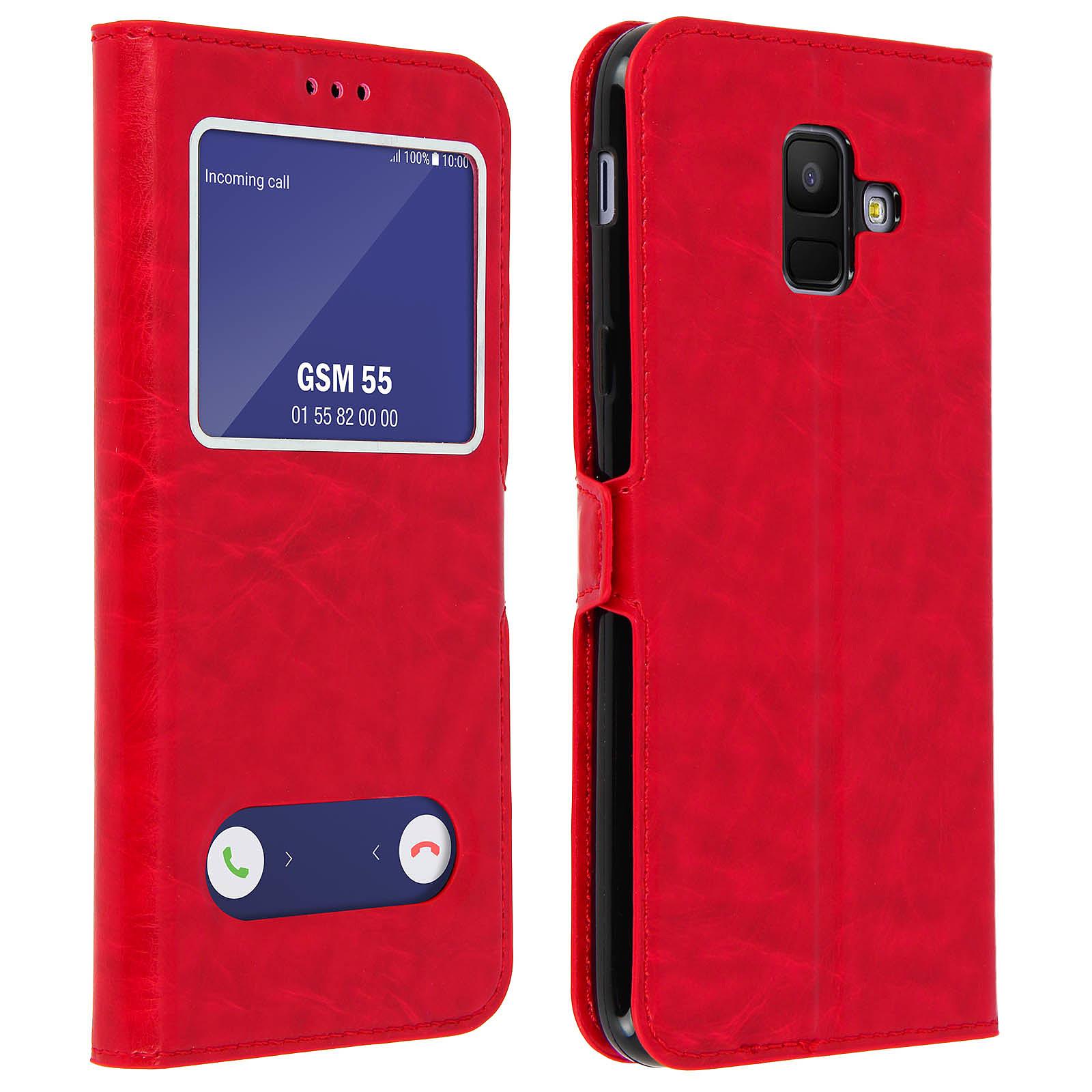 Avizar Etui folio Rouge Éco-cuir pour Samsung Galaxy A6