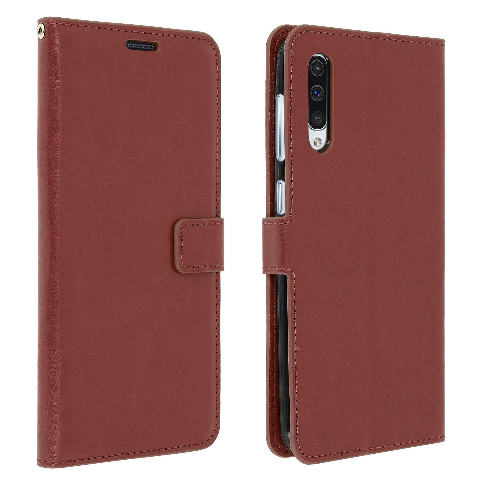 Avizar Etui folio Marron pour Samsung Galaxy A50 , Samsung Galaxy A30s