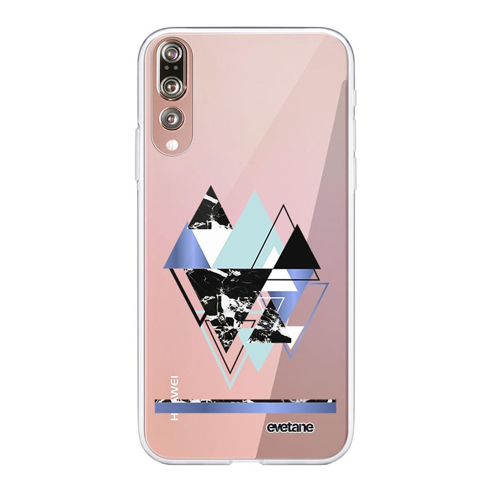 EVETANE Coque Huawei P20 Pro souple transparente Triangles Bleus - Coque téléphone Evetane sur LDLC