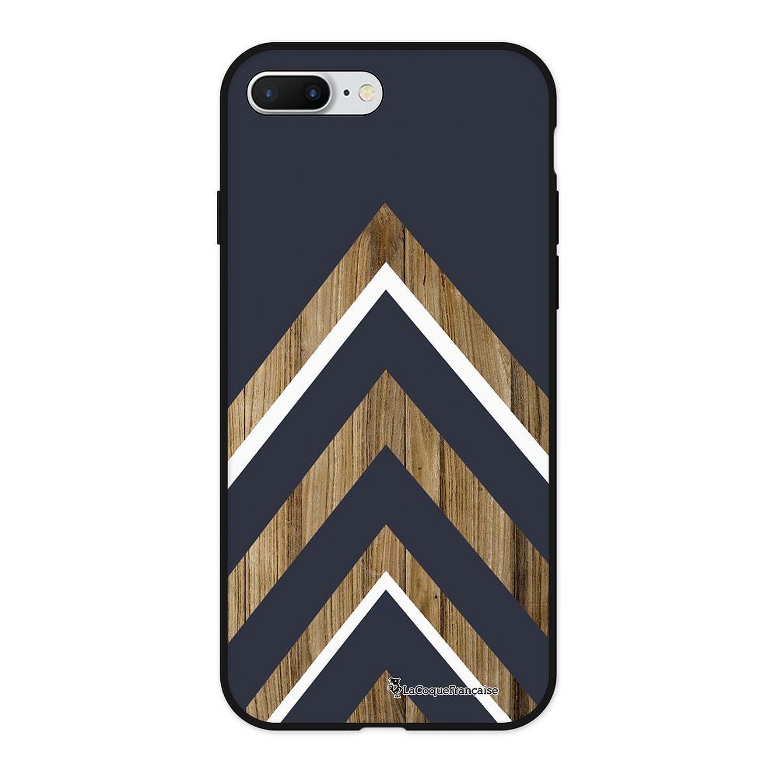 LA COQUE FRANCAISE Coque iPhone 7 Plus/ 8 Plus Silicone Liquide Douce noir Trio bleu marine bois - Coque téléphone LaCoqueFrançaise sur LDLC