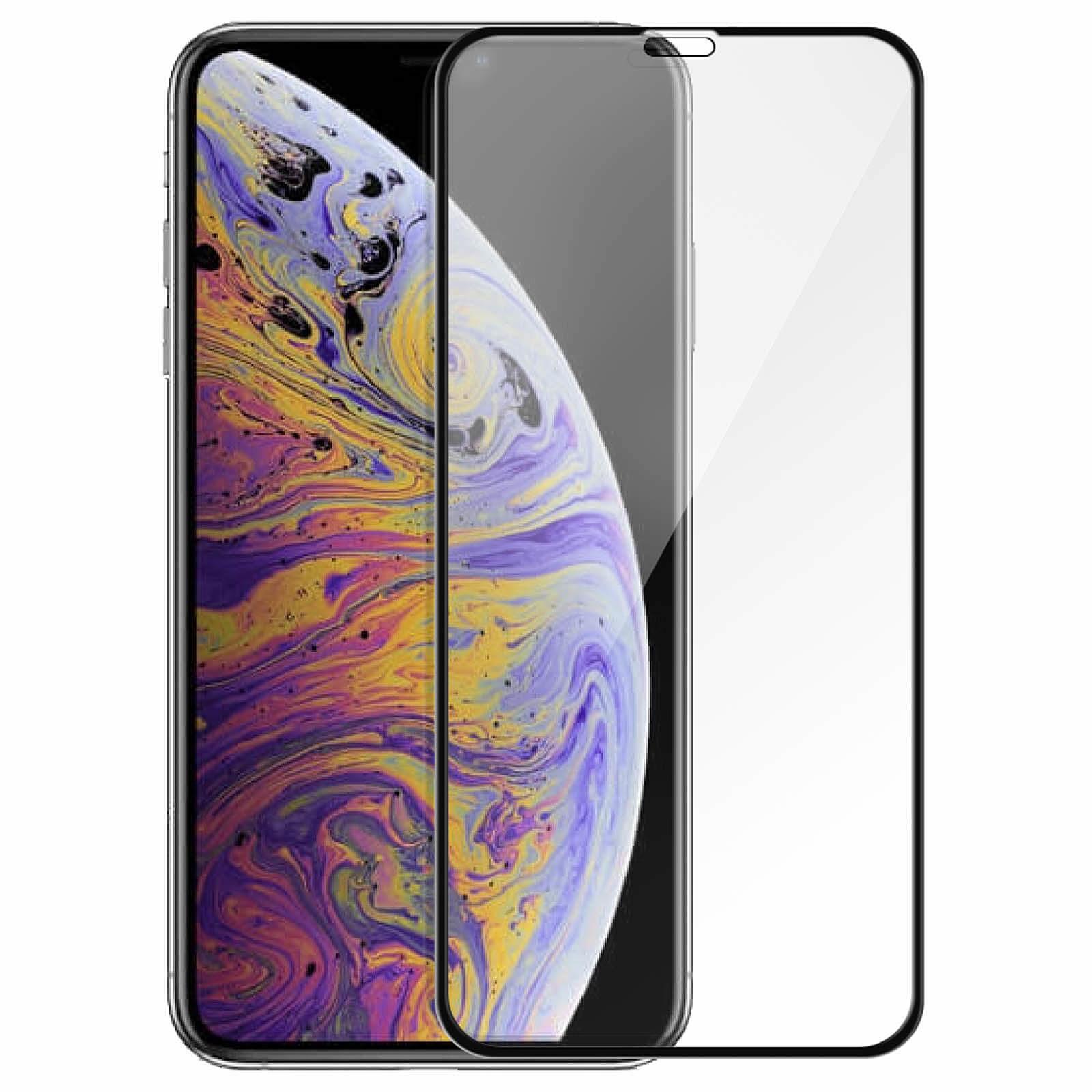 Avizar Film verre trempé Noir pour Apple iPhone XS Max, Apple iPhone 11 Pro Max