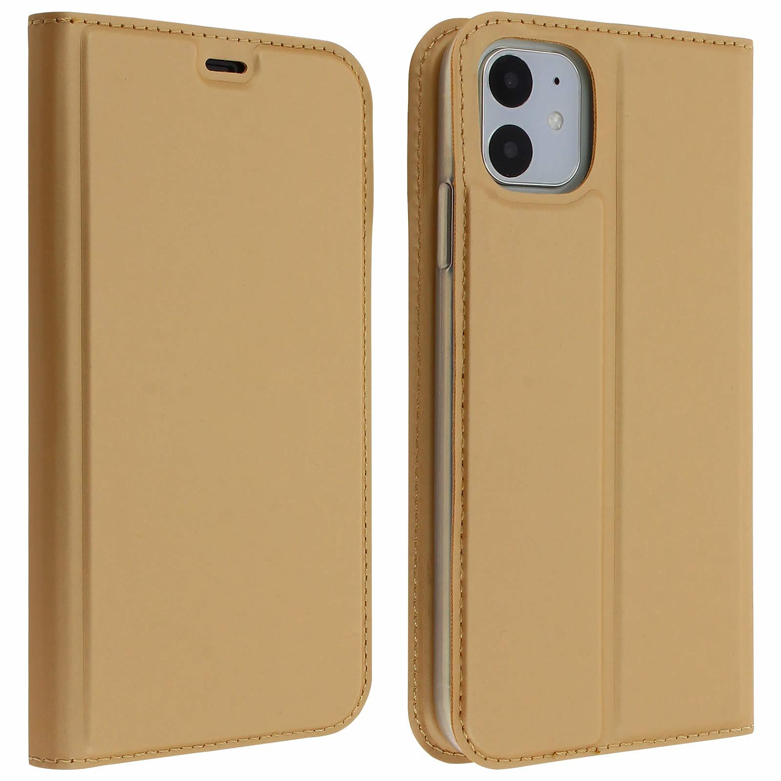 Avizar Etui folio Dorée Éco-cuir pour Apple iPhone 11