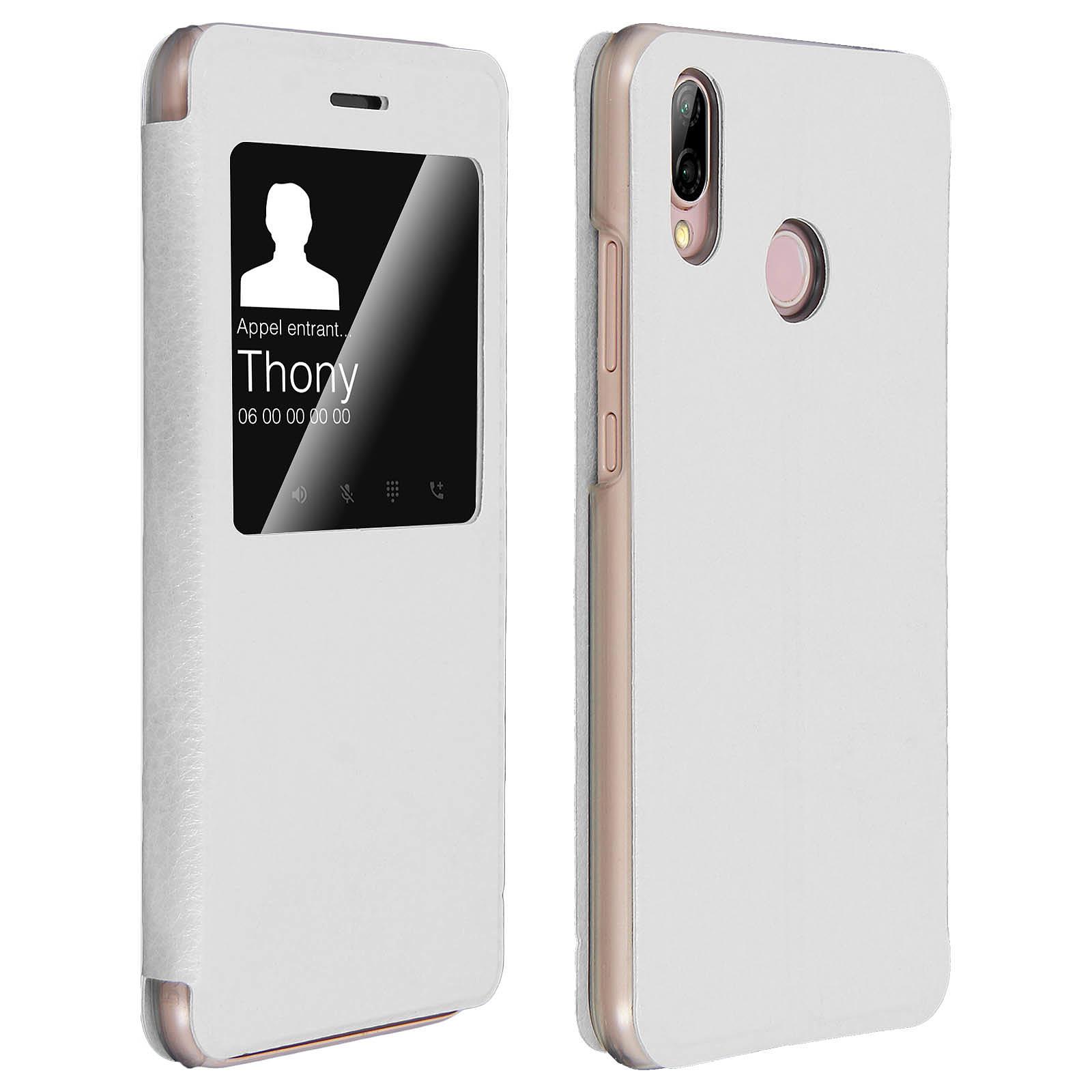 Avizar Etui folio Blanc pour Huawei P20 Lite