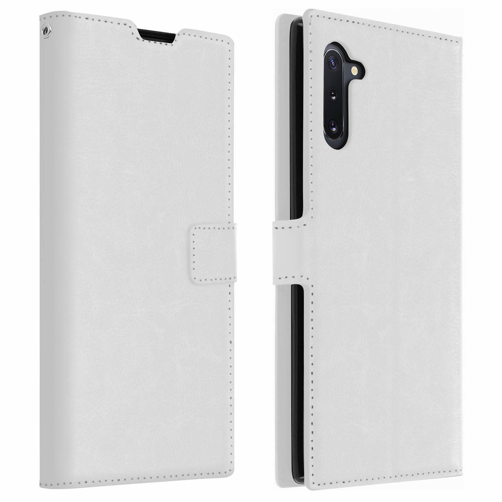 Avizar Etui folio Blanc Vintage pour Samsung Galaxy Note 10