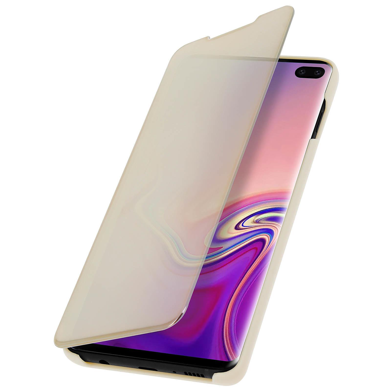 Avizar Etui folio Dorée Design Miroir pour Samsung Galaxy S10 Plus