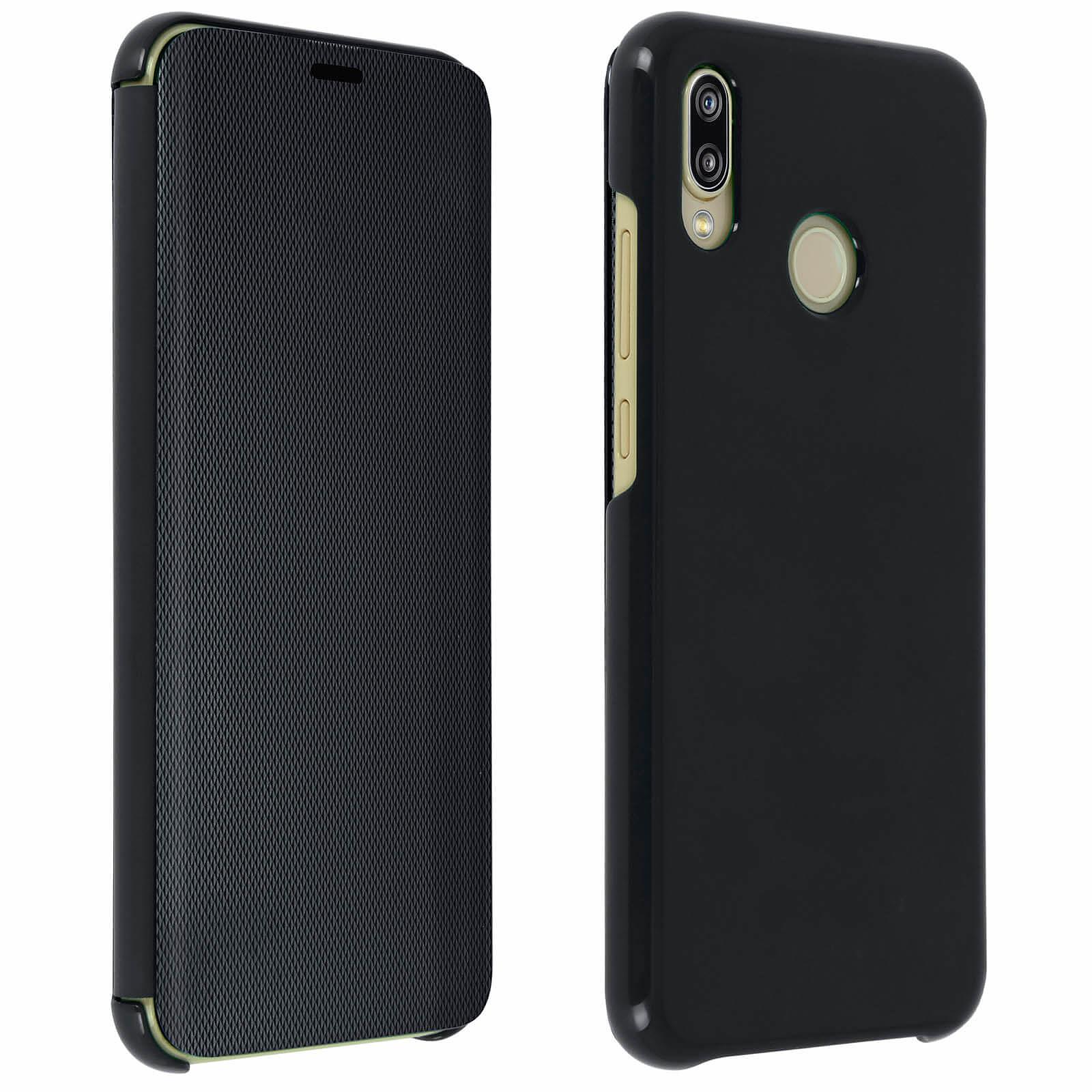 Avizar Etui folio Noir Translucide pour Huawei P20 Lite
