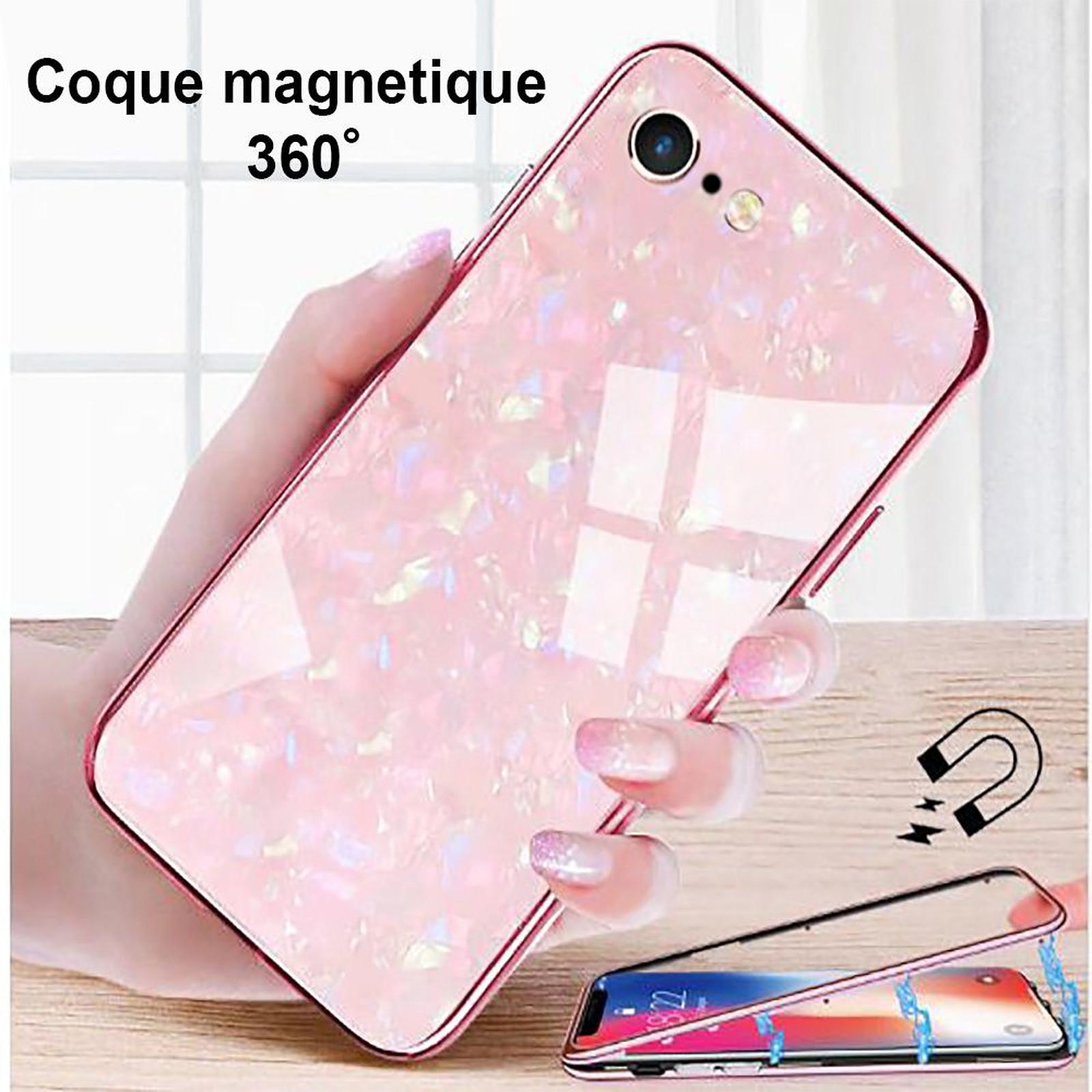 EVETANE Coque intégrale 360 avec film anti-casse pour iPhone 6/6S aimanté- effet marbre brillant rose - Coque téléphone Evetane sur LDLC