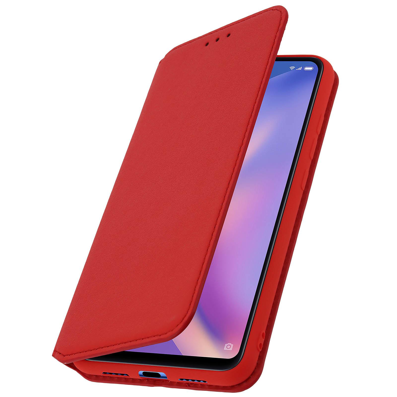 Avizar Etui folio Rouge Éco-cuir pour Xiaomi Mi 8 Lite