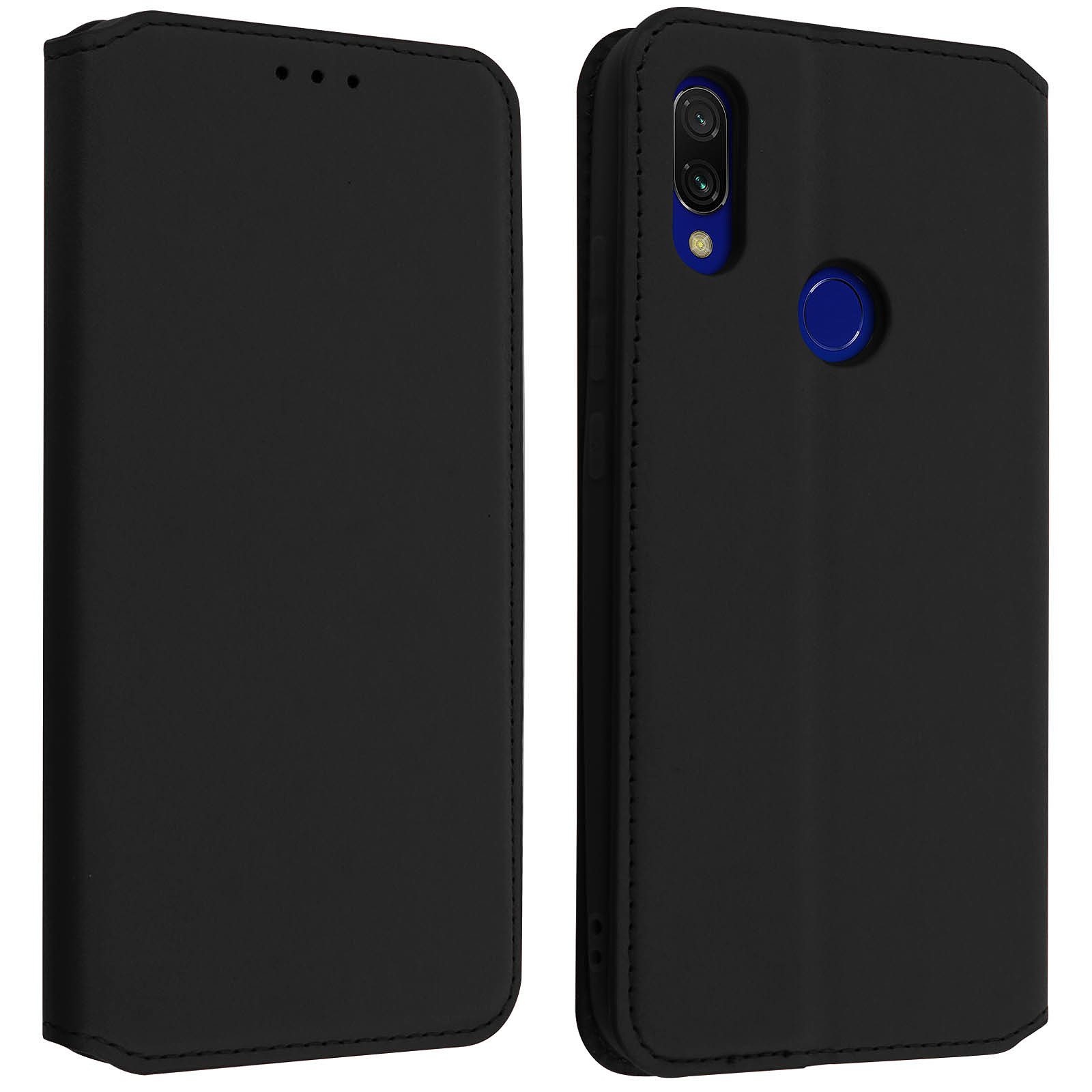 Avizar Etui folio Noir Éco-cuir pour Xiaomi Redmi 7
