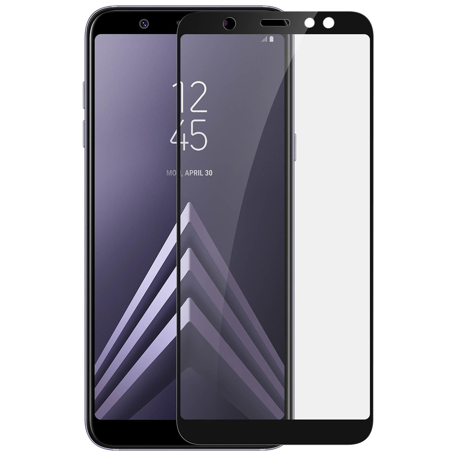 Avizar Film verre trempé Noir pour Samsung Galaxy A6 Plus