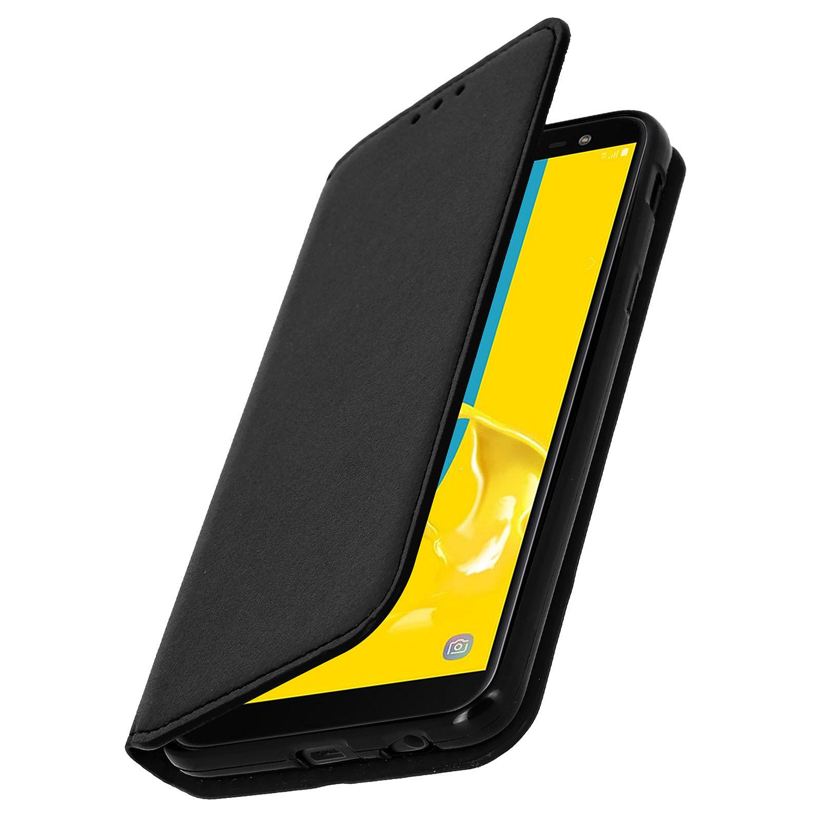 Avizar Etui folio Noir Éco-cuir pour Samsung Galaxy J6