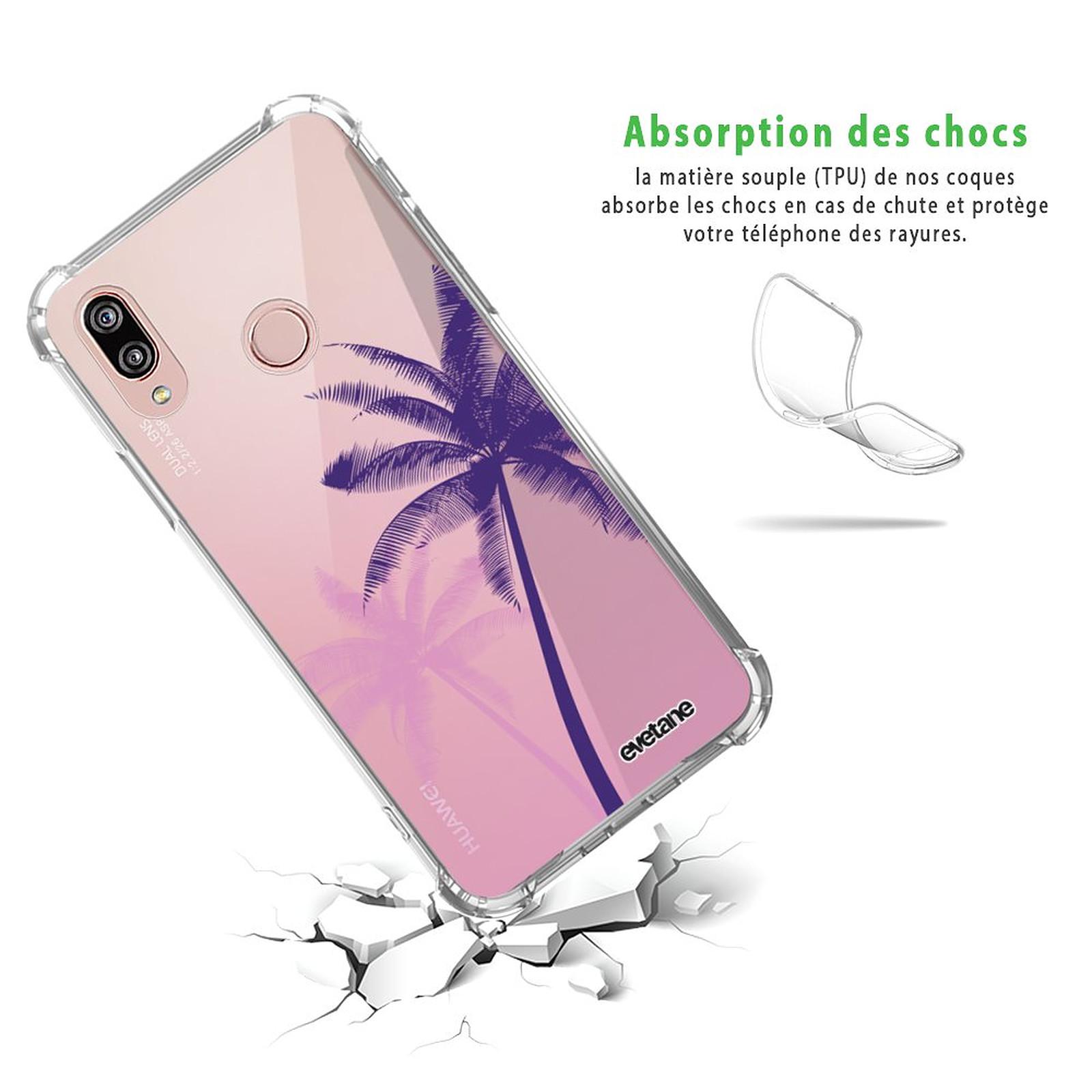 EVETANE Coque Huawei P20 Lite anti-choc souple angles renforcés transparente Palmiers et Dégradé
