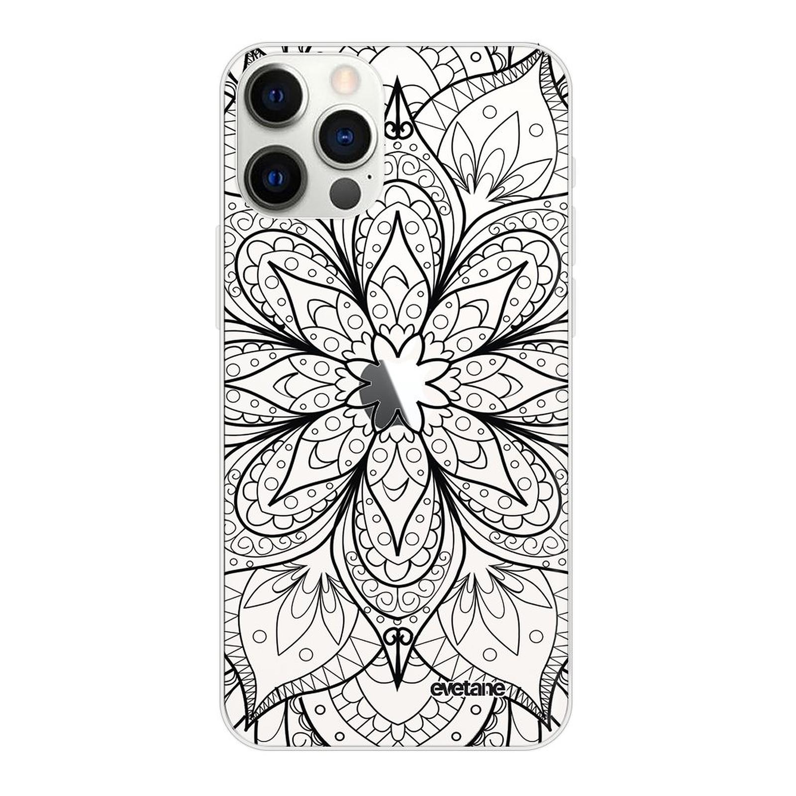EVETANE Coque iPhone 12/12 Pro 360 intégrale transparente Mandala noir Tendance - Coque téléphone Evetane sur LDLC