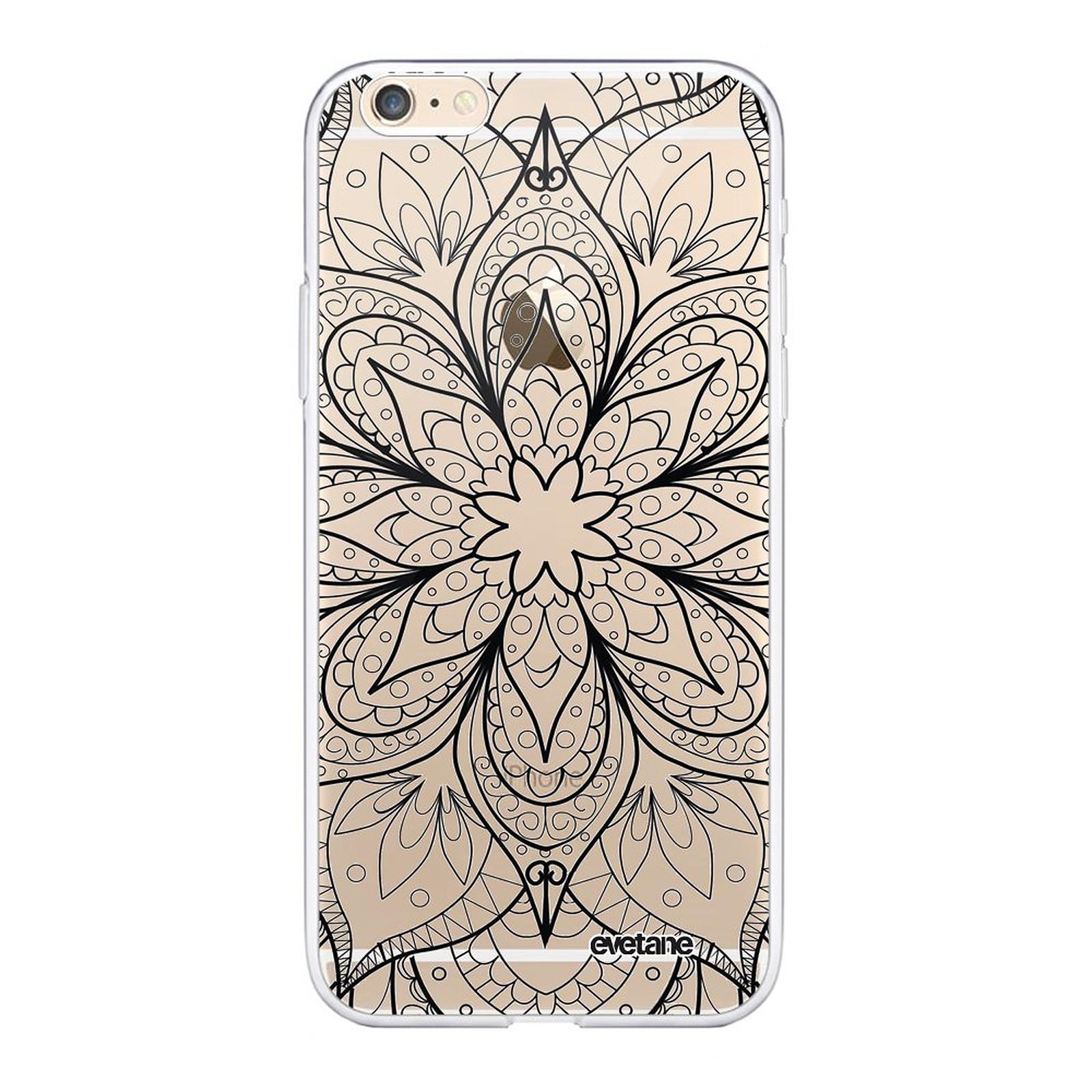 EVETANE Coque iPhone 6 Plus / 6S Plus souple transparente Mandala noir - Coque téléphone Evetane sur LDLC