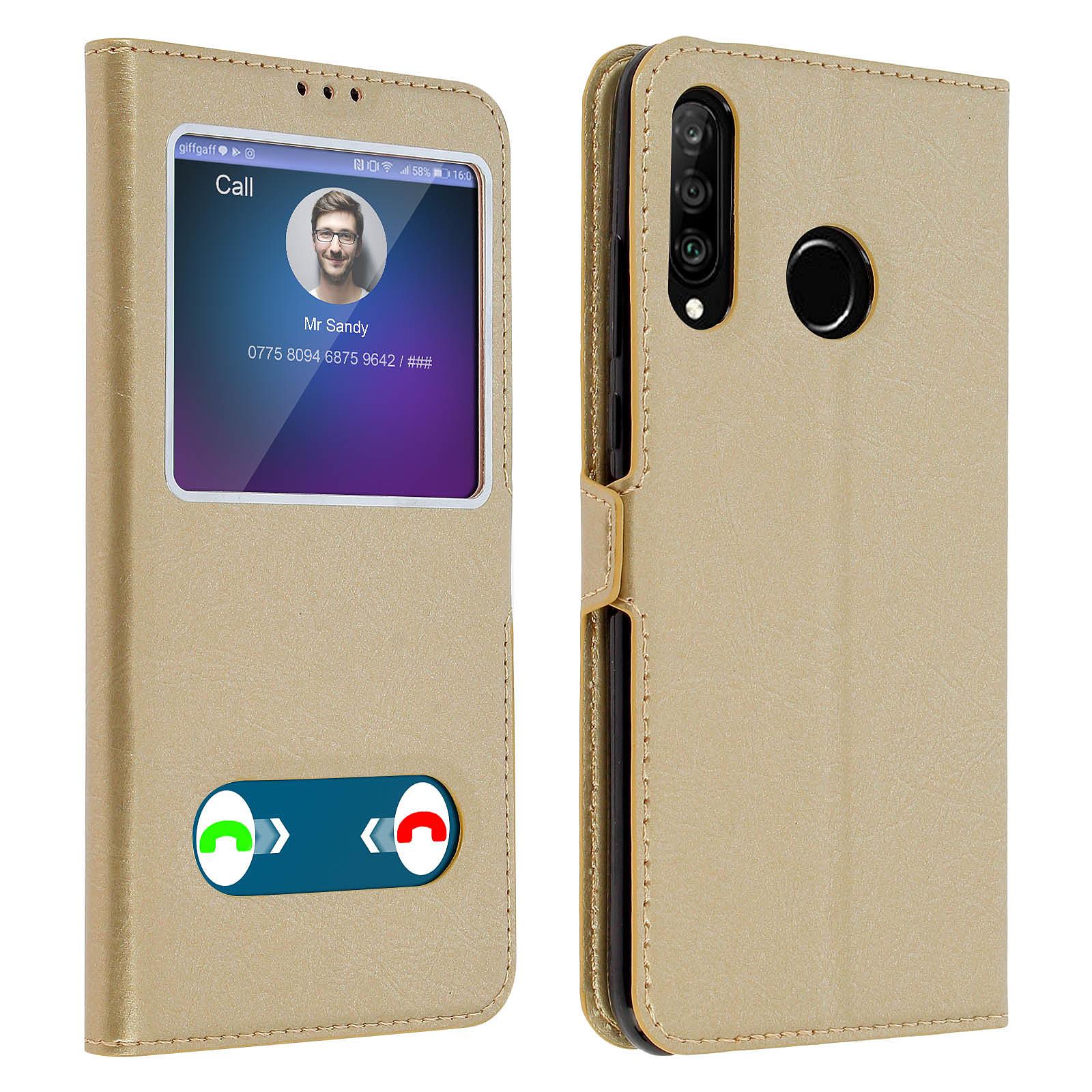 Avizar Etui folio Dorée pour Huawei P30 Lite , Honor 20S , Huawei P30 Lite XL