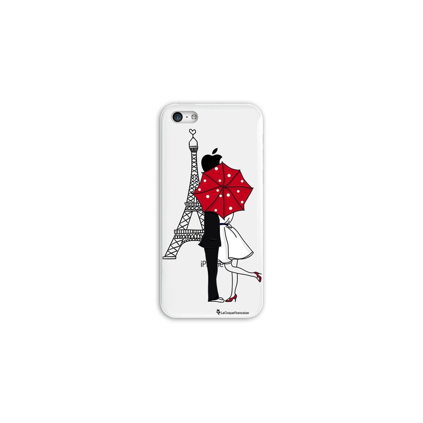 LA COQUE FRANCAISE Coque iPhone 5C rigide transparente Amour à Paris Dessin